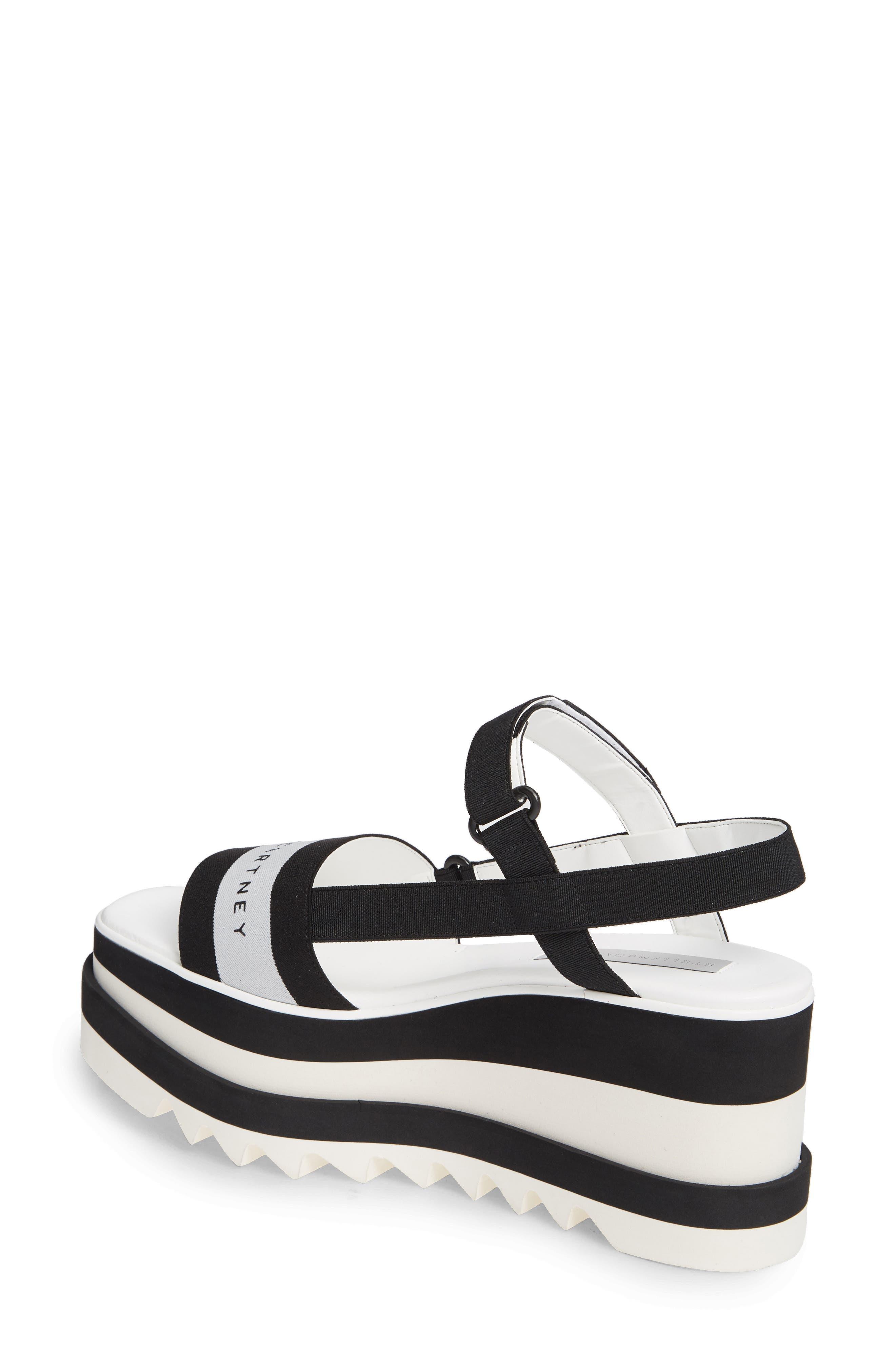 Stripe Logo Platform Sandal,                             Alternate thumbnail 2, color,                             BLACK/ WHITE