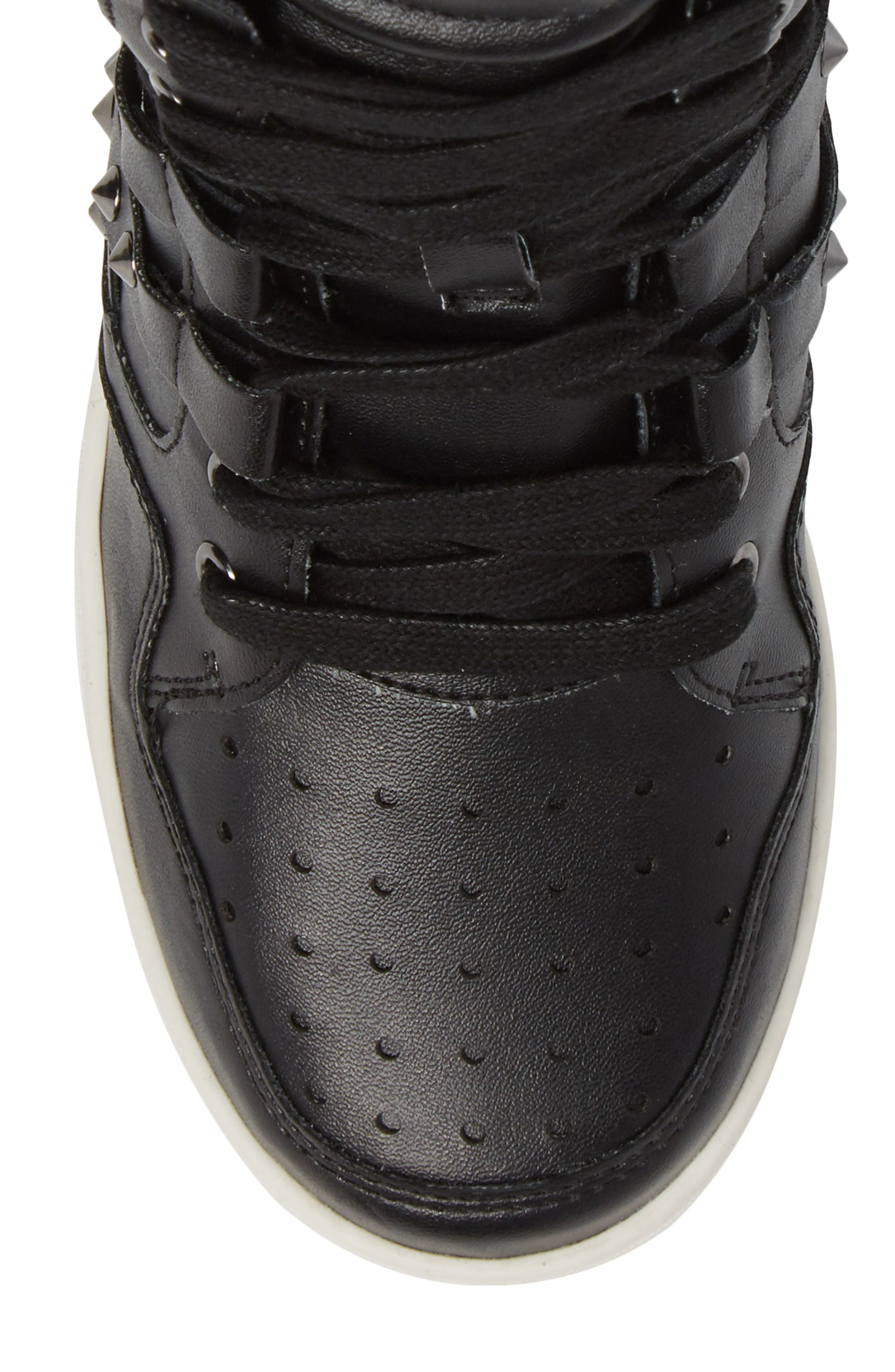 Boogie Chic Studded High Top Sneaker,                             Alternate thumbnail 5, color,                             001