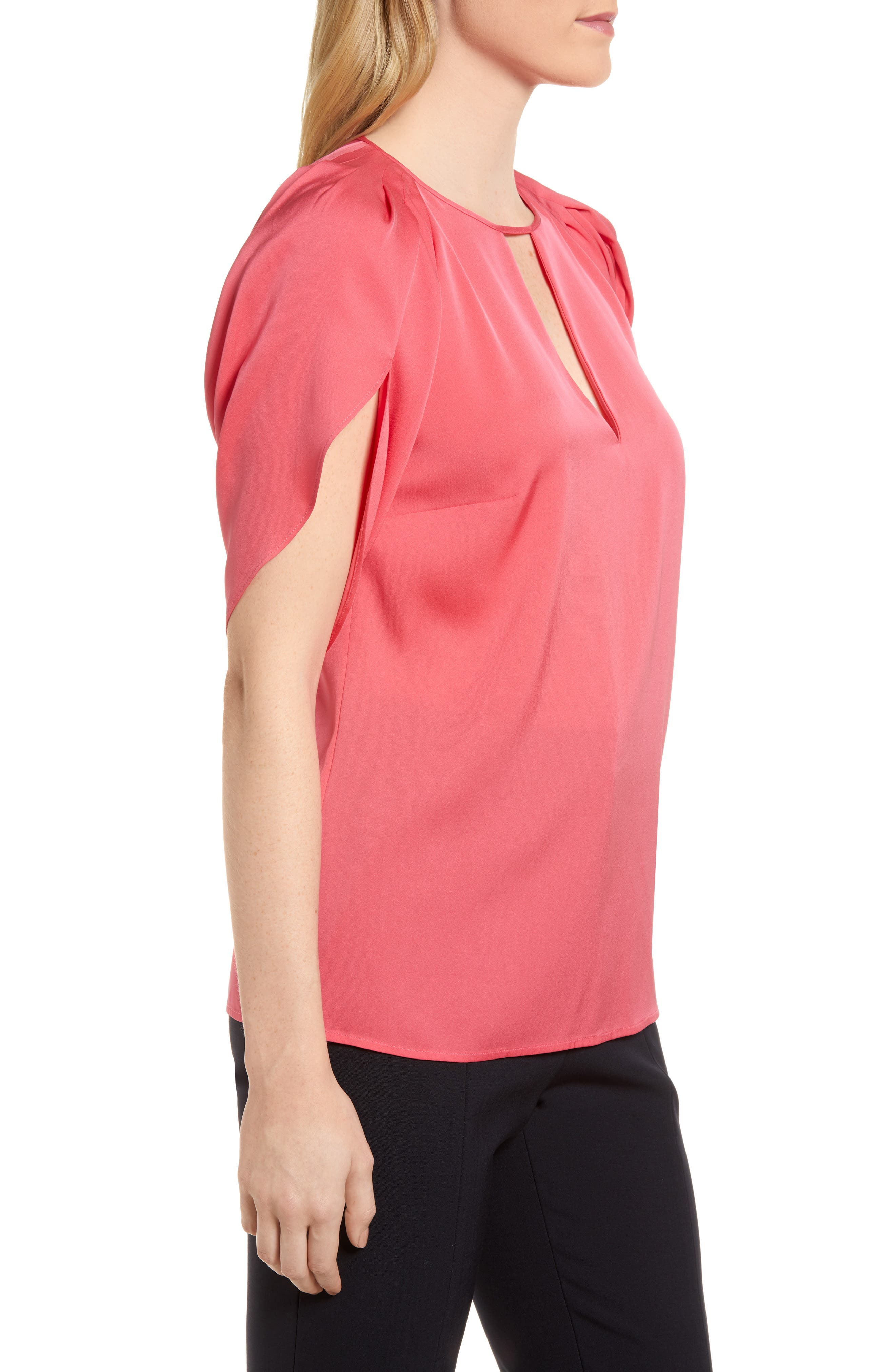 Draped Sleeve Stretch Silk Top,                             Alternate thumbnail 13, color,