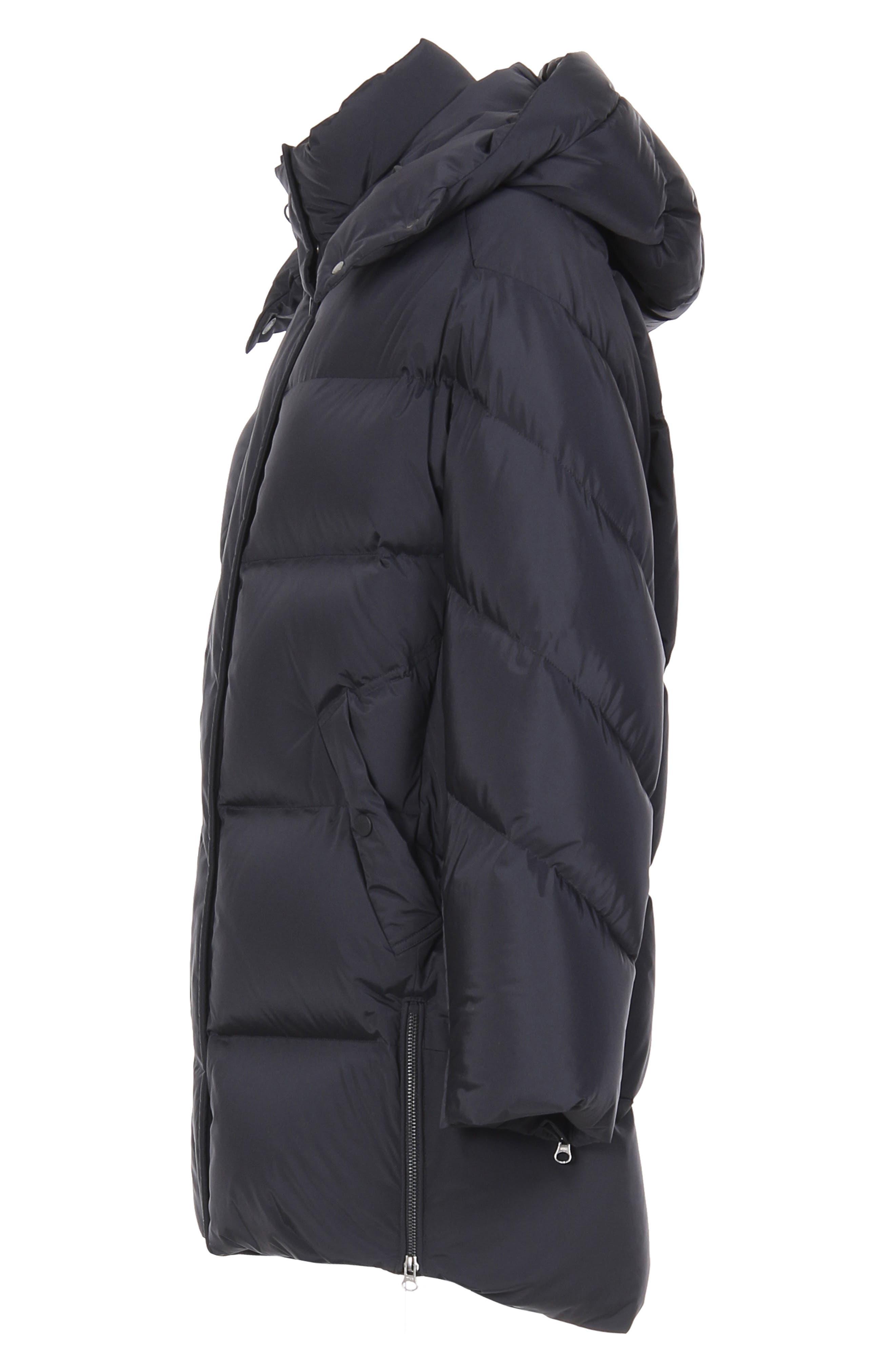 Aurora Water Repellent Puffy Down Coat,                             Alternate thumbnail 6, color,                             BLACK