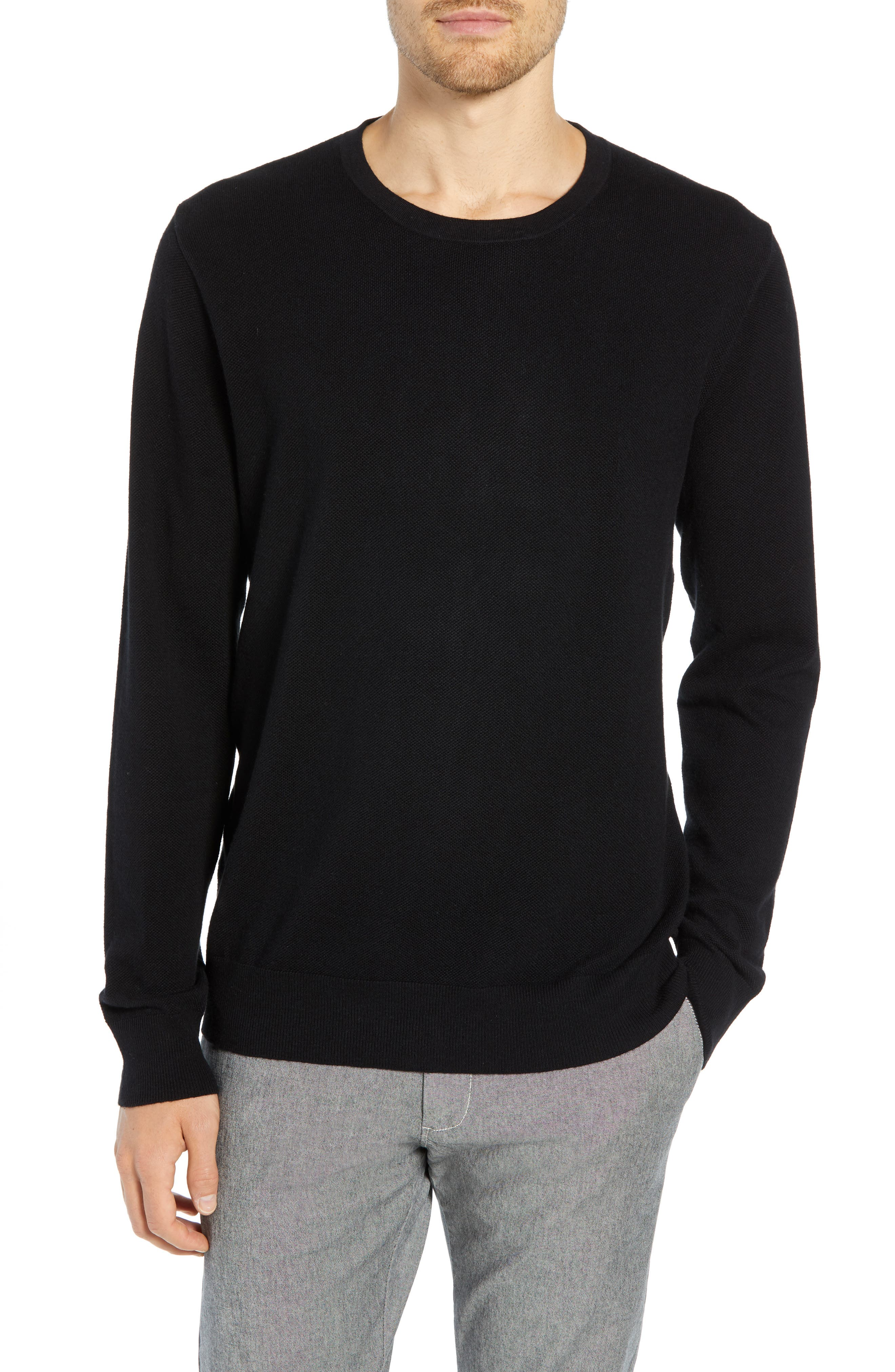 Cotton & Cashmere Piqué Crewneck Sweater,                             Main thumbnail 1, color,                             001