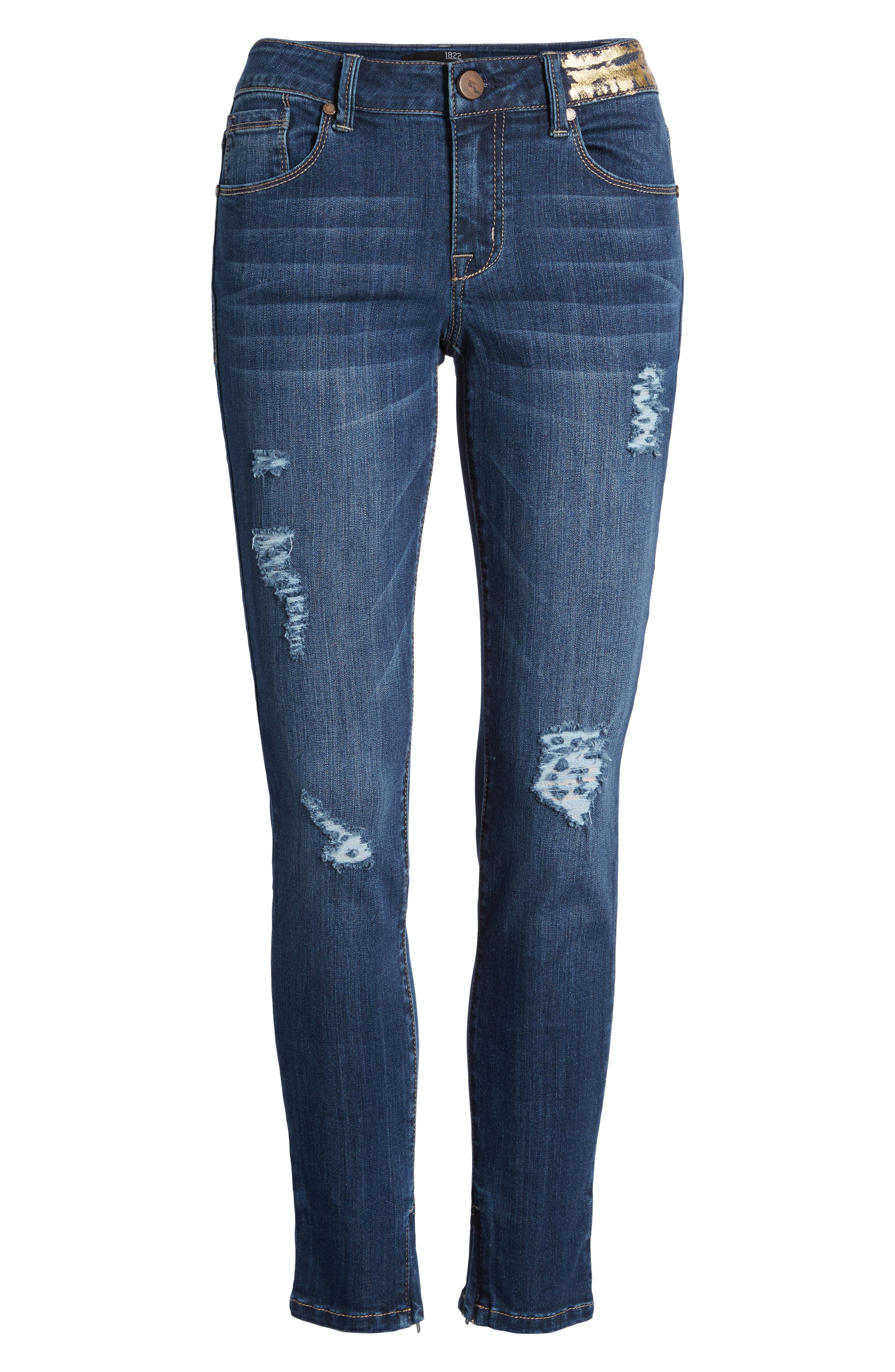 Gold Waist Ankle Zip Skinny Jeans,                             Alternate thumbnail 7, color,                             403