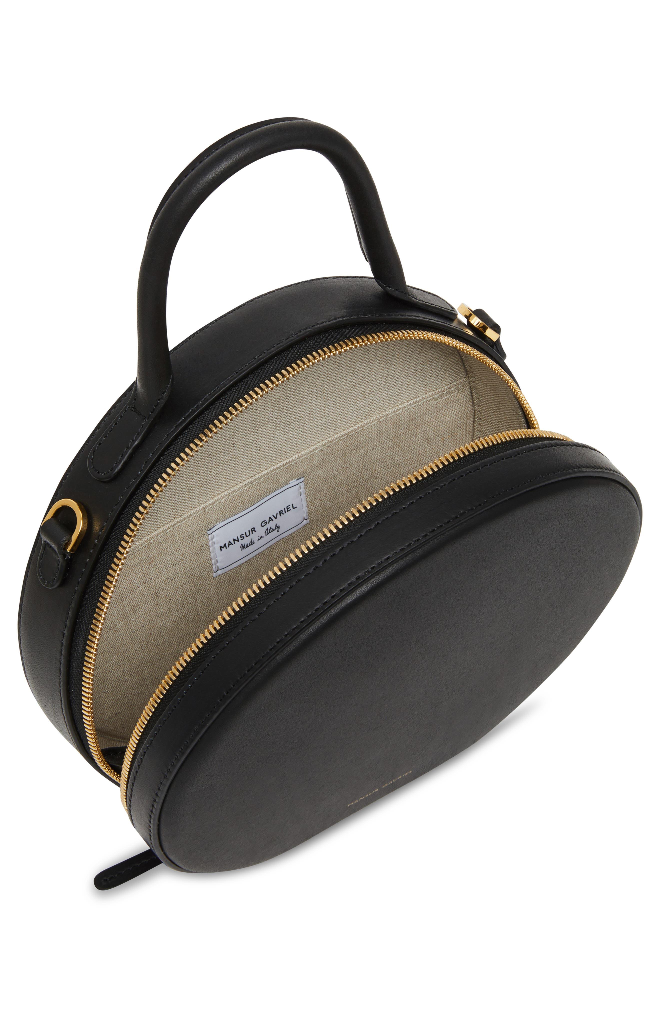 Leather Circle Crossbody Bag,                             Alternate thumbnail 4, color,                             BLACK