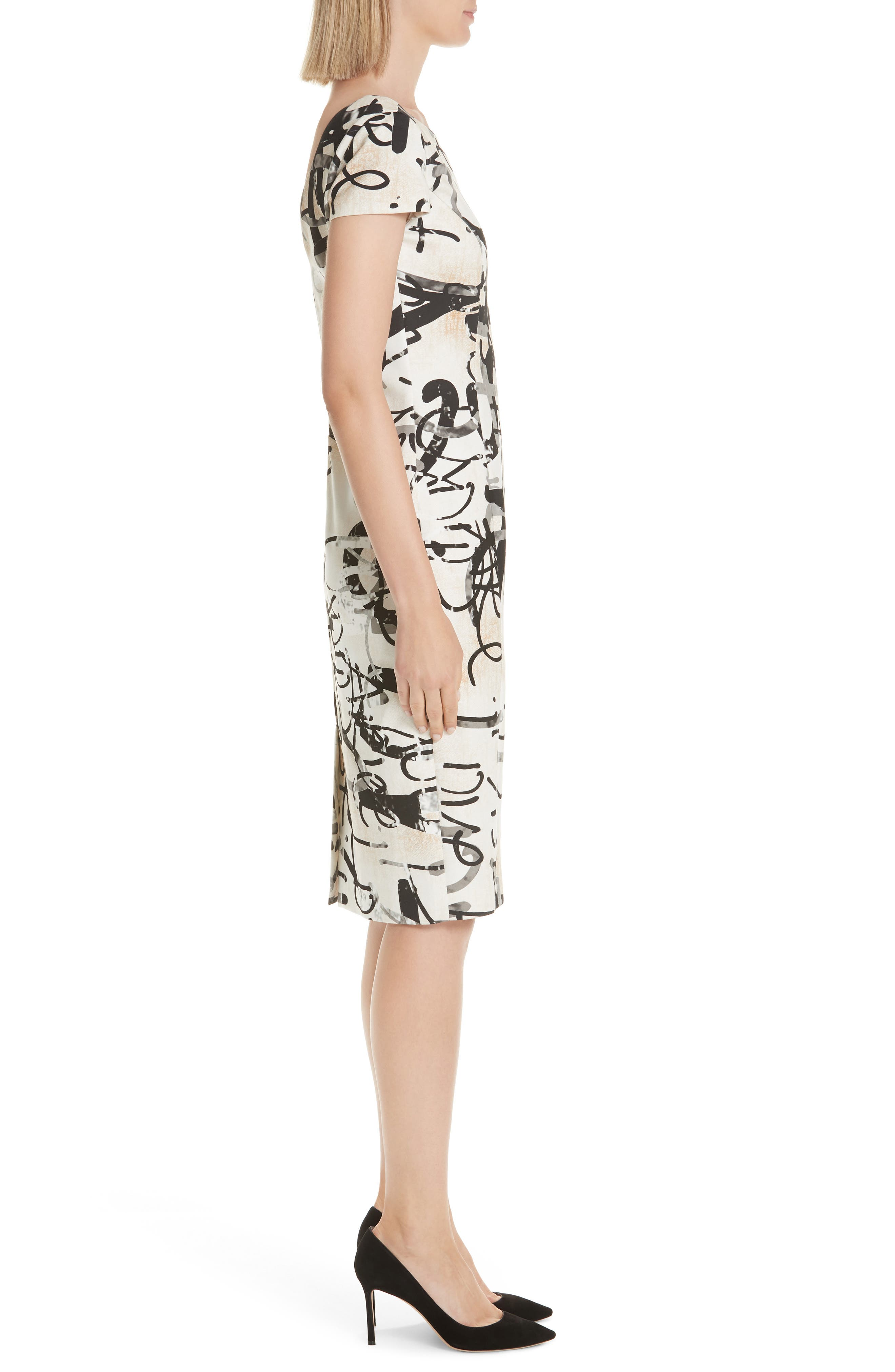 Alcali Scribble Print Sheath Dress,                             Alternate thumbnail 3, color,                             BEIGE