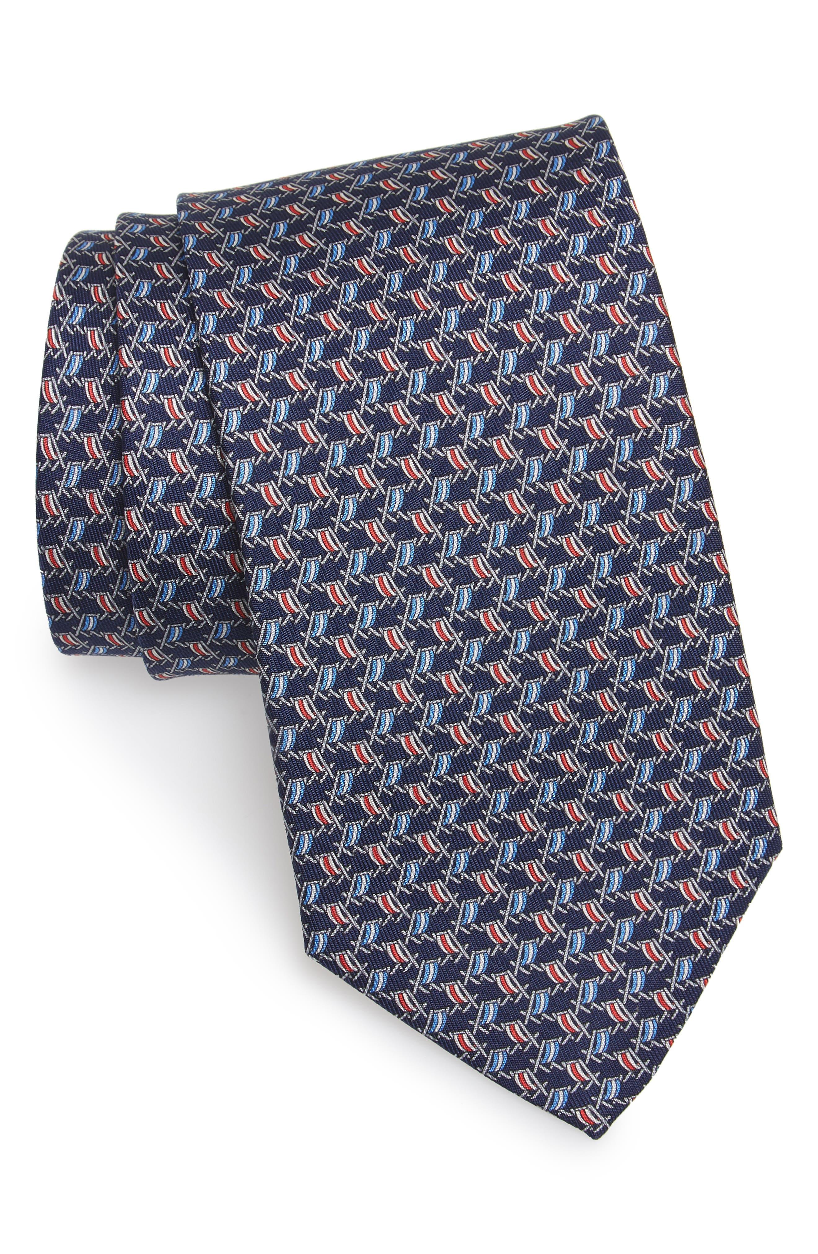 Ersilia Print Silk Tie,                         Main,                         color, NAVY
