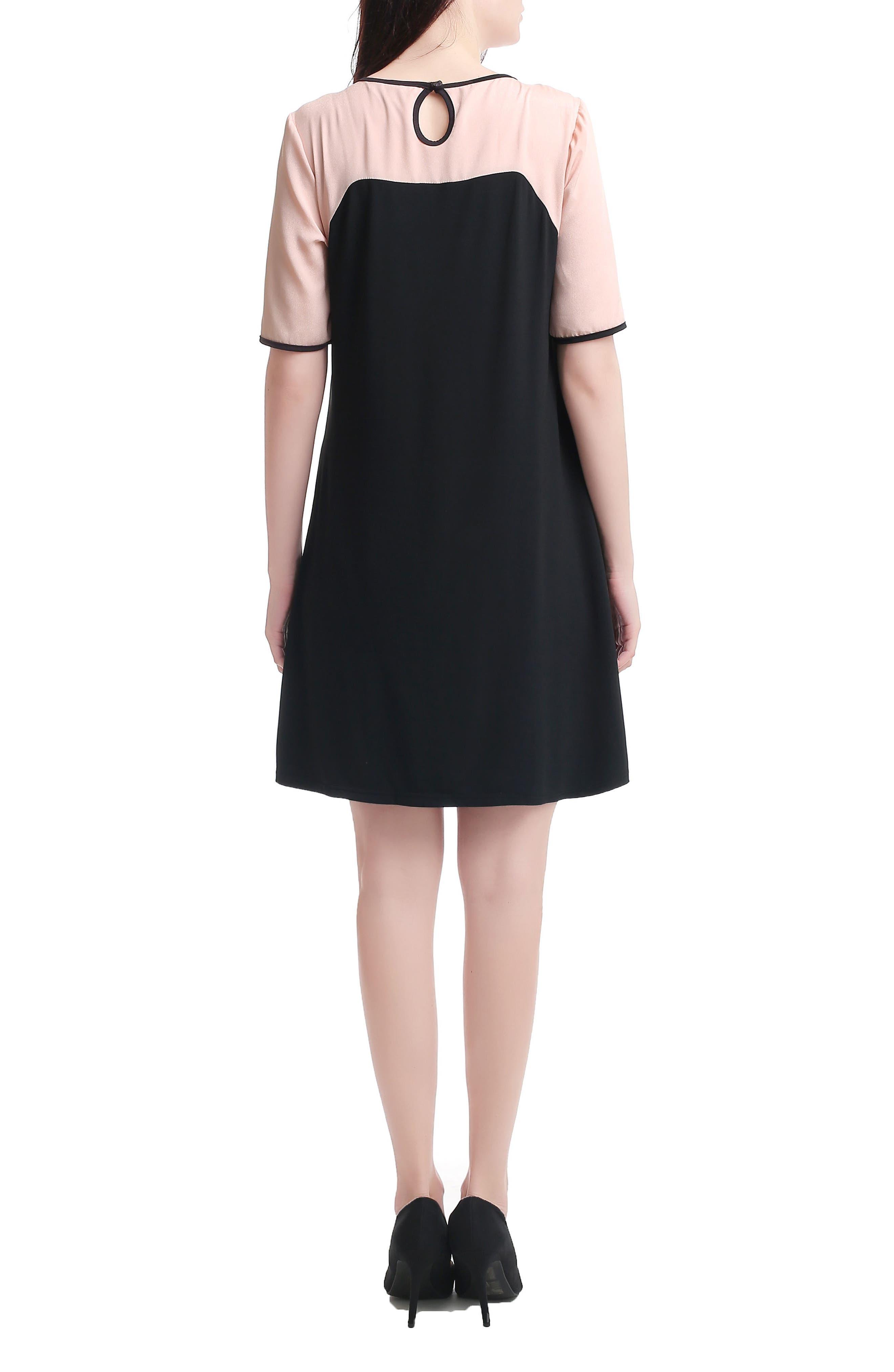 Kimi & Kai Maggie Maternity/Nursing Shift Dress,                             Alternate thumbnail 2, color,                             BLACK/ BLUSH