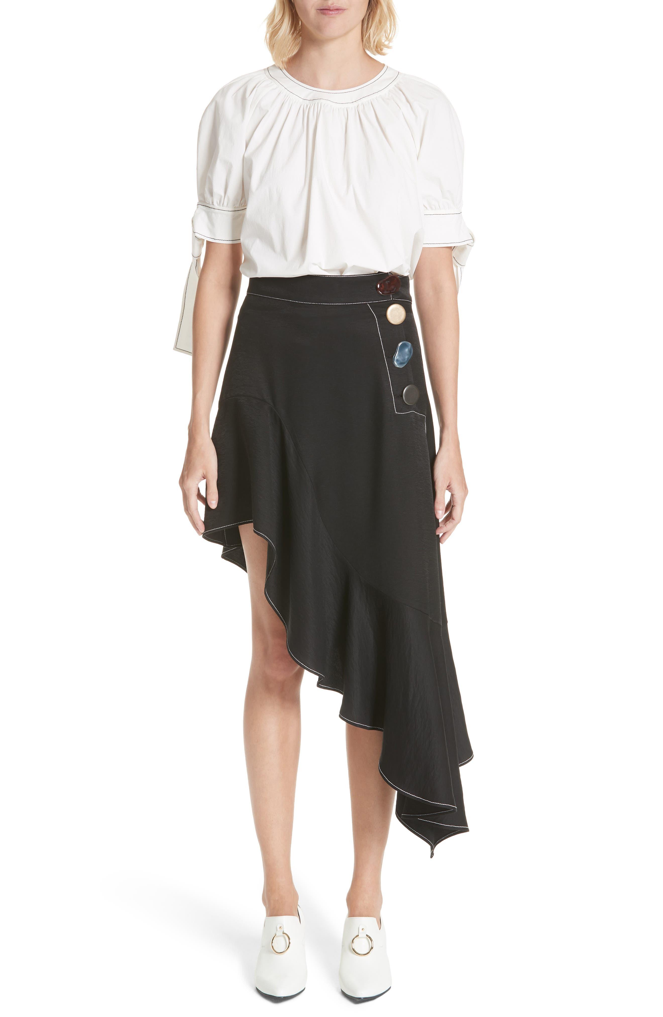 Ella Asymmetrical Ruffle Skirt,                             Alternate thumbnail 7, color,                             001