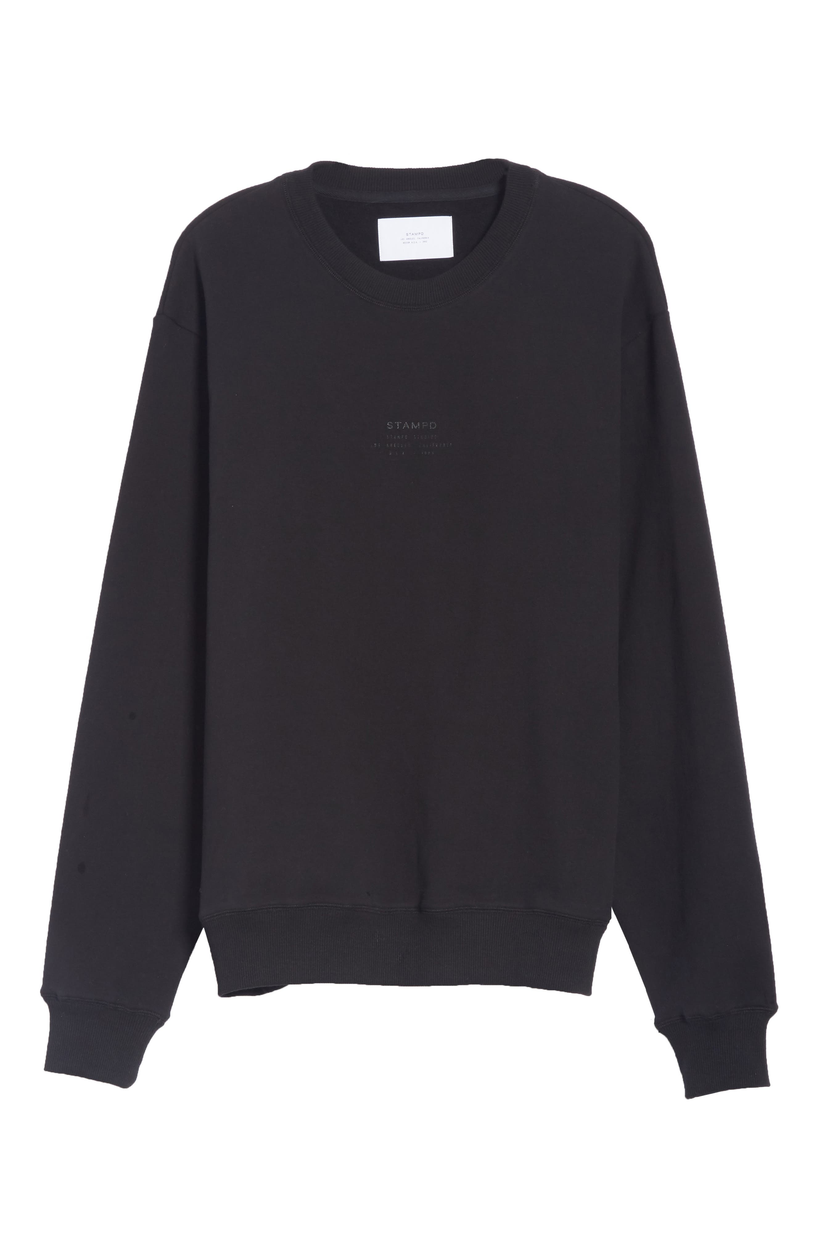 Crewneck Sweatshirt,                             Alternate thumbnail 6, color,                             BLACK