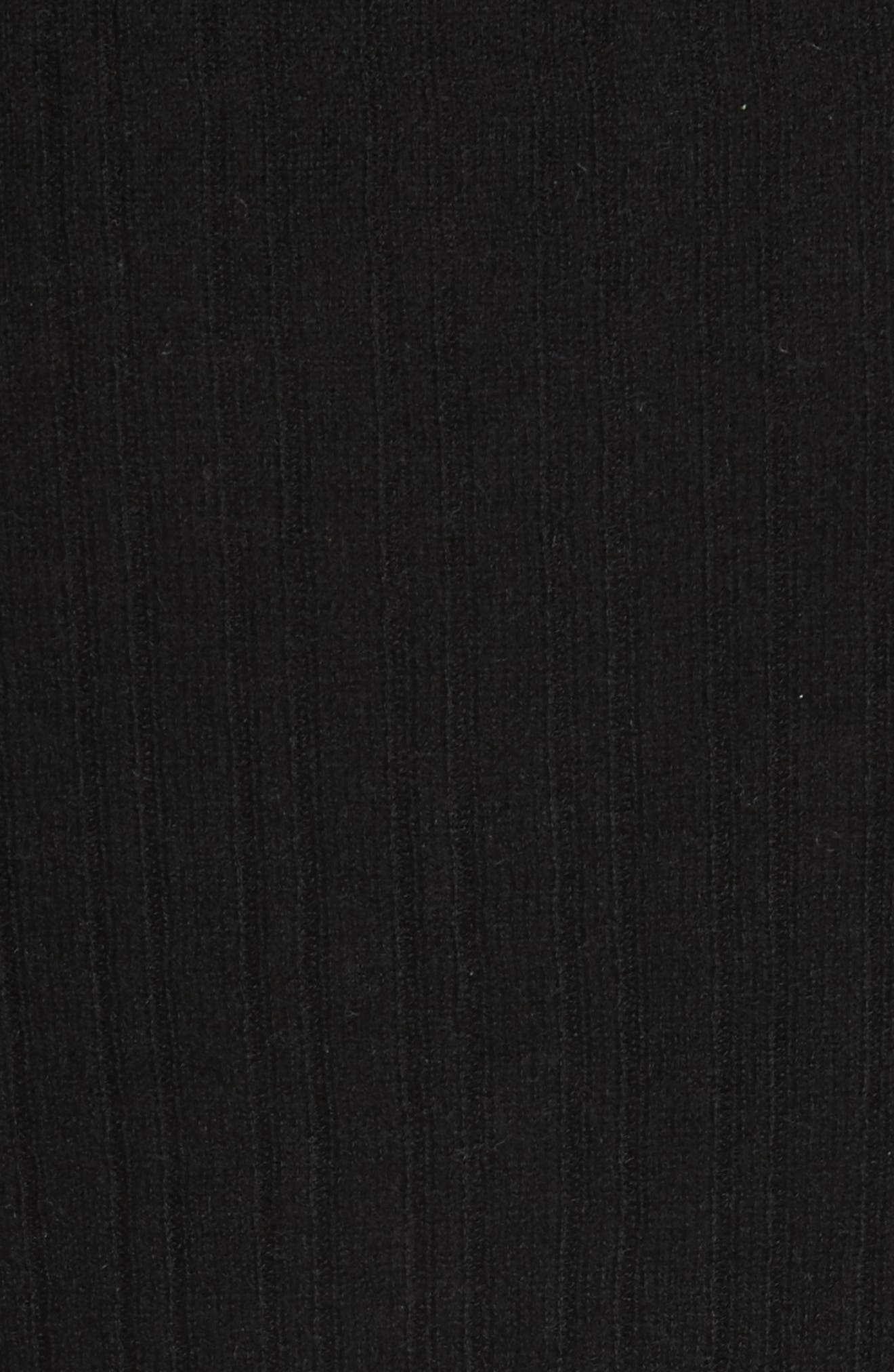 Ribbed Cashmere V-Neck Sweater,                             Alternate thumbnail 5, color,                             001