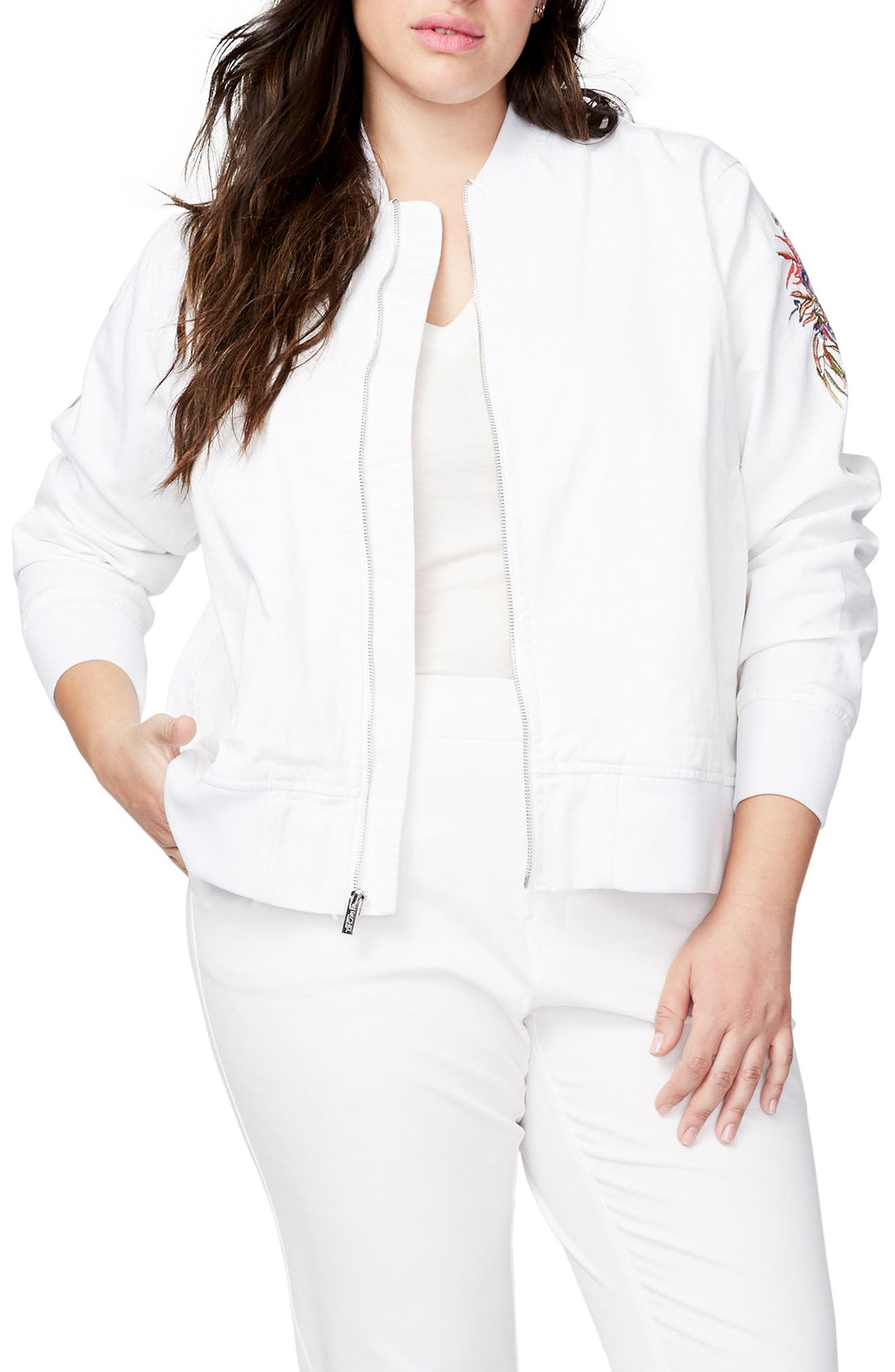 Embroidered Bomber Jacket,                             Main thumbnail 1, color,                             100