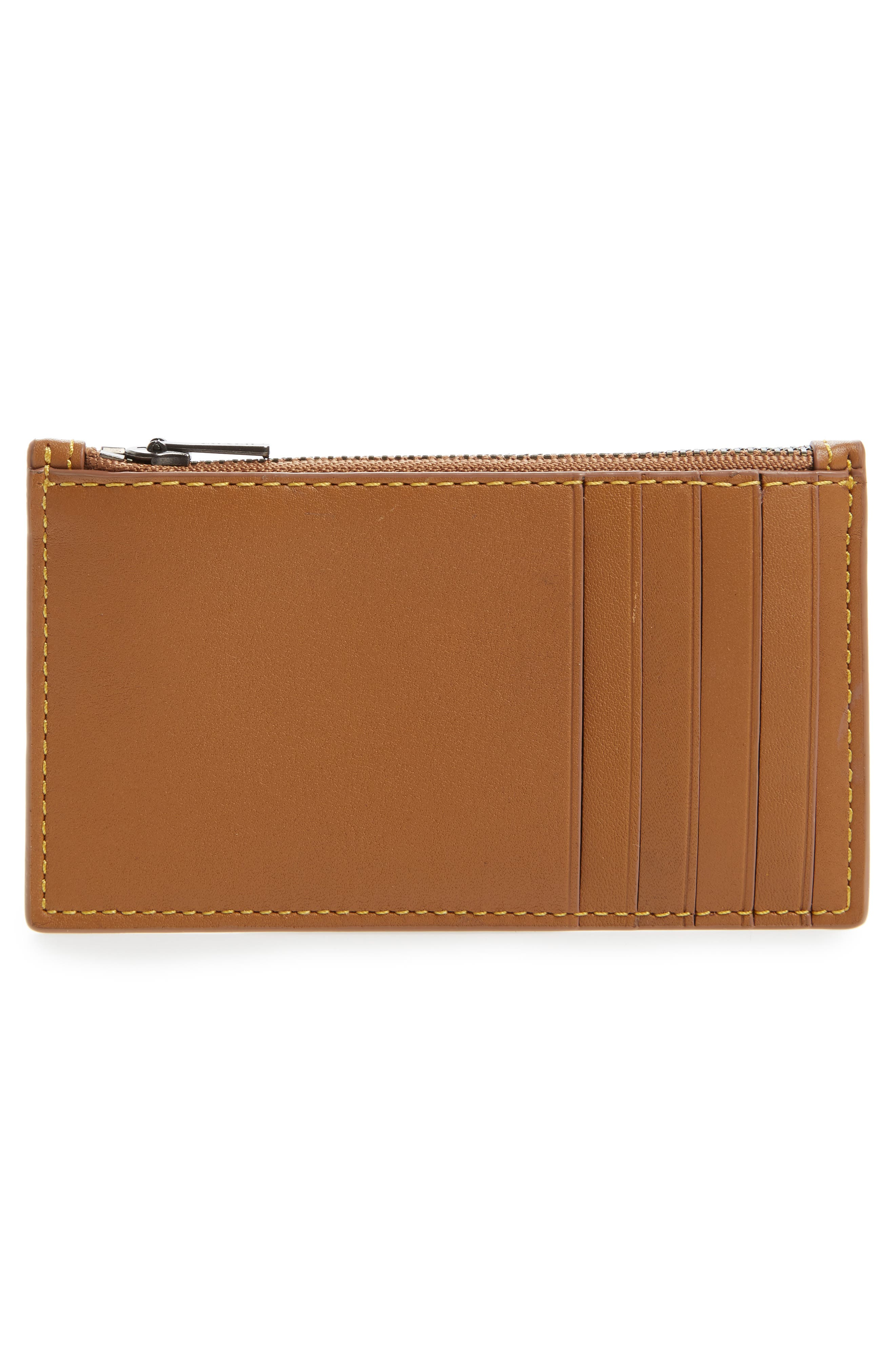 Zip Leather Card Case,                             Alternate thumbnail 4, color,