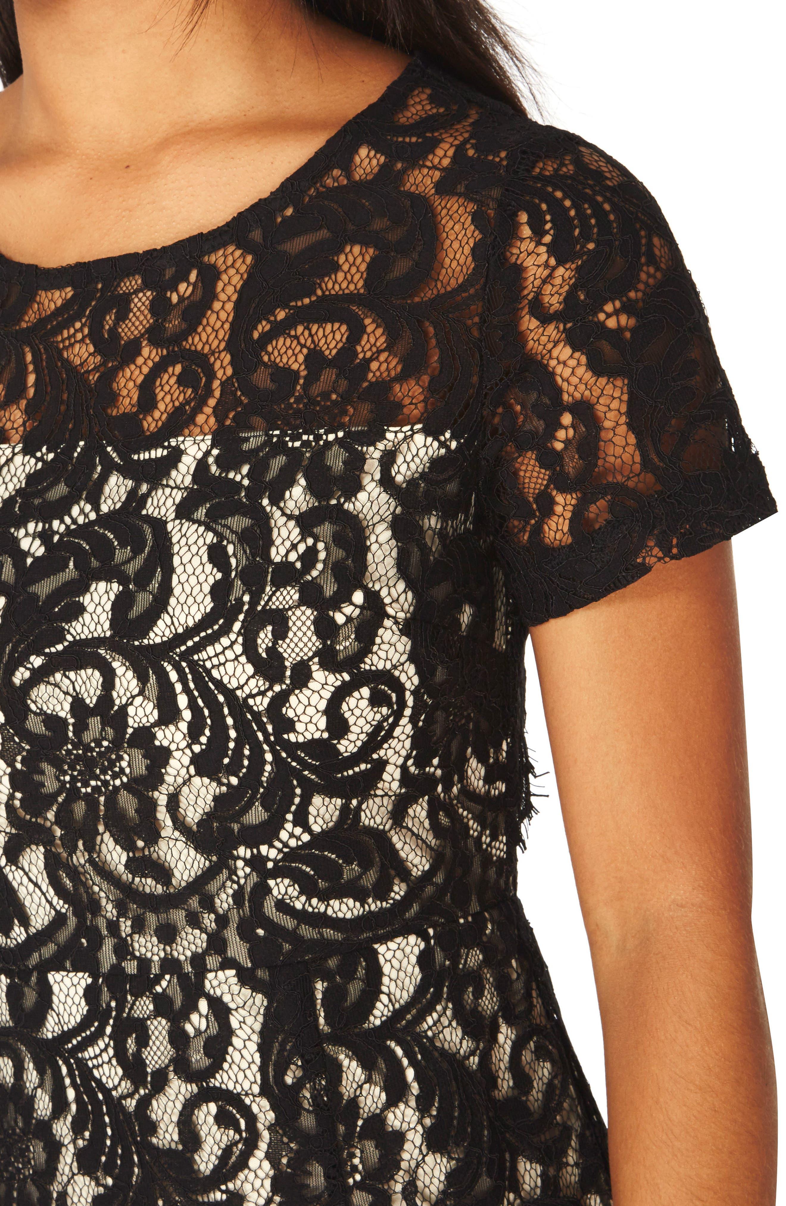 Lace Pencil Dress,                             Alternate thumbnail 4, color,                             001
