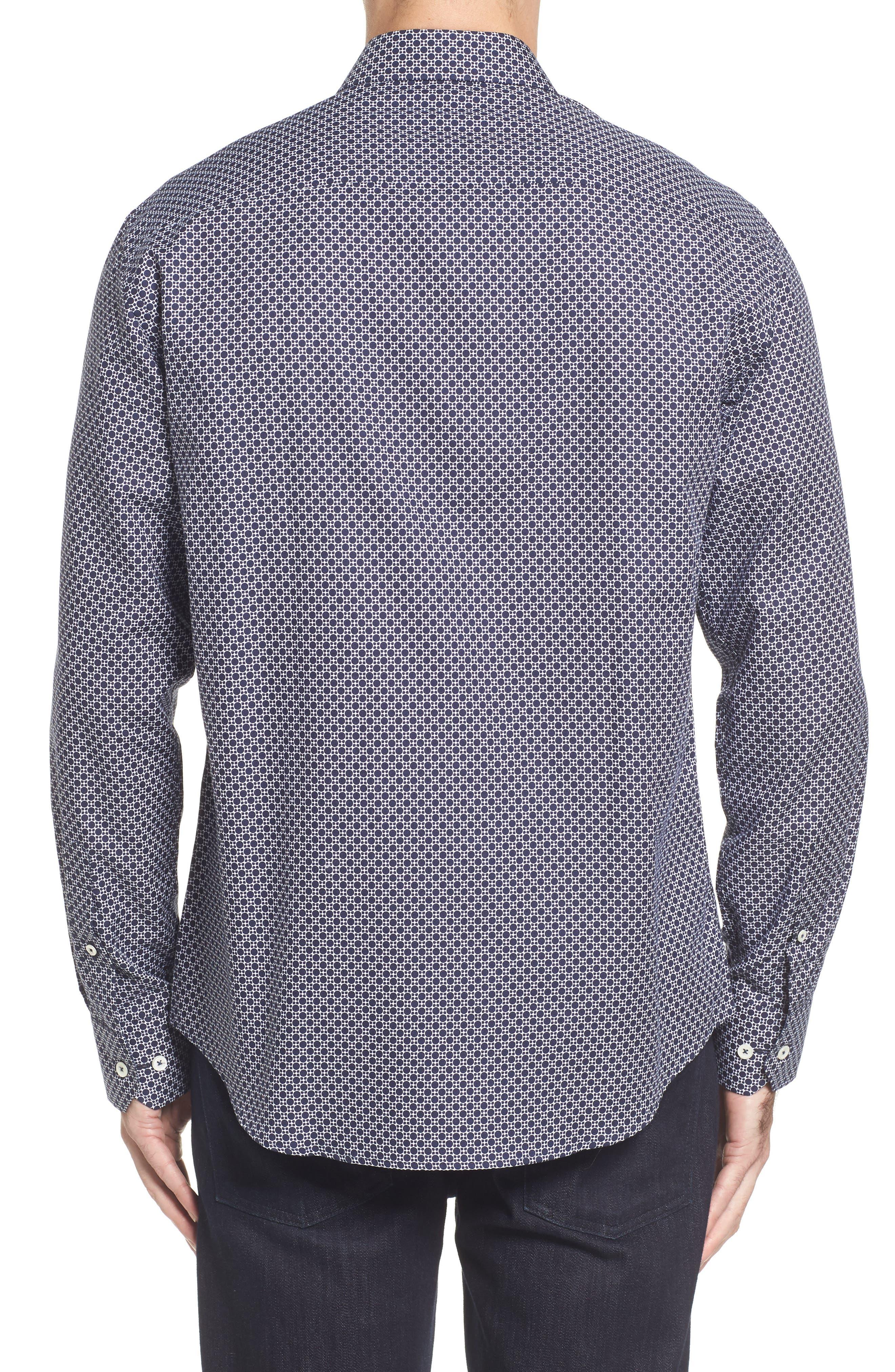 Classic Fit Dot Print Sport Shirt,                             Alternate thumbnail 2, color,