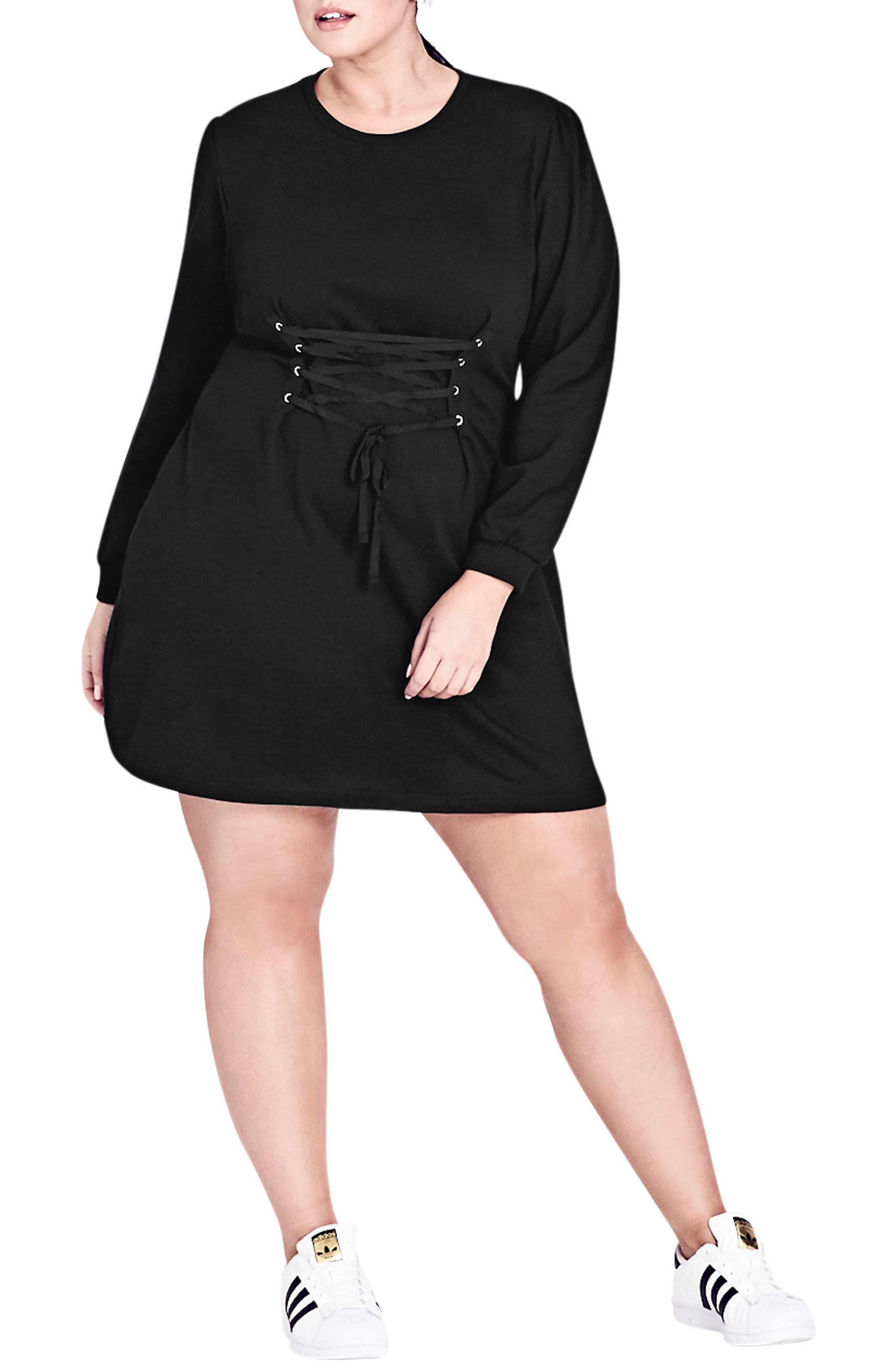 CITY CHIC Corset Waist Tunic Dress, Main, color, 001