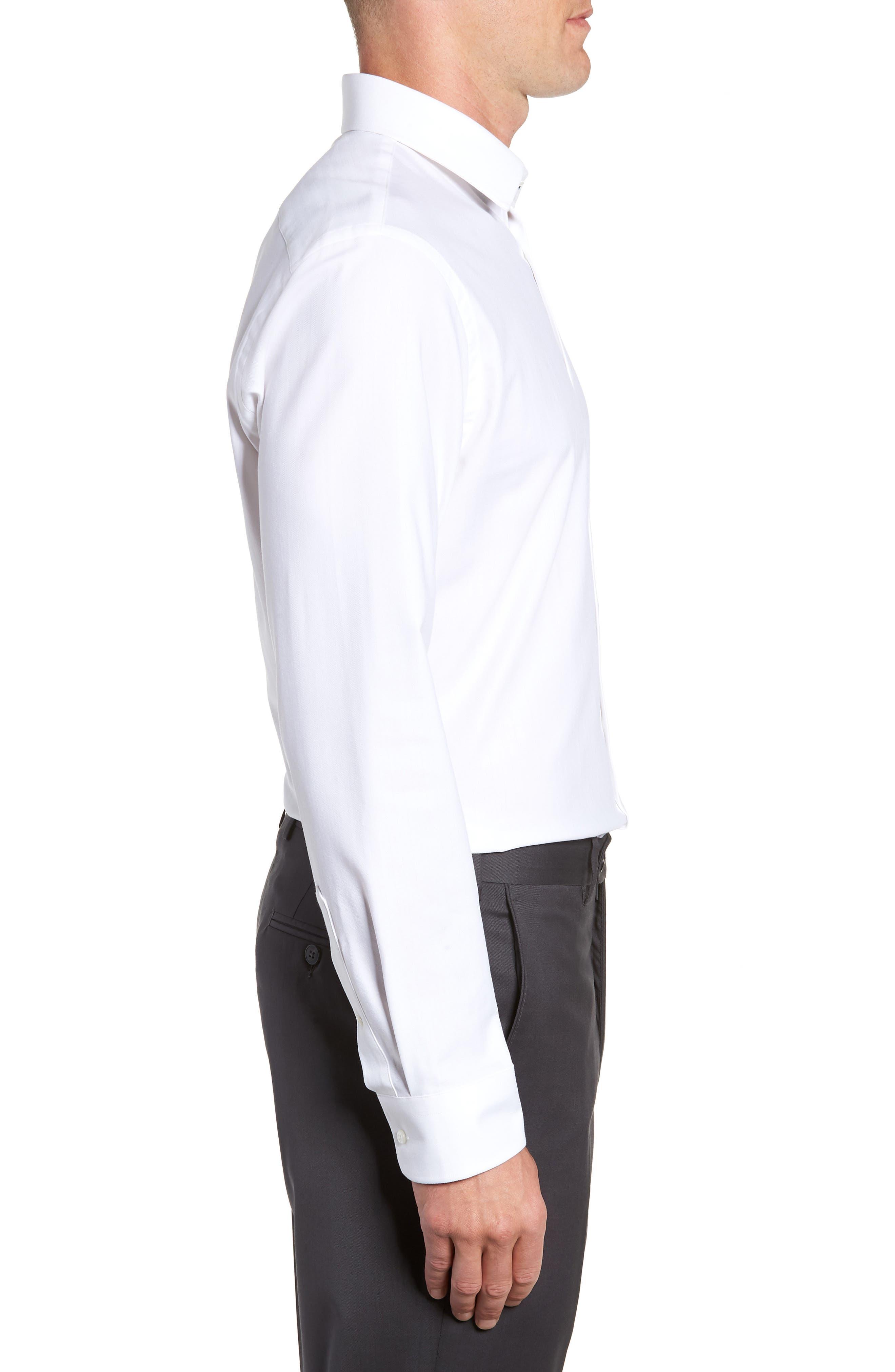 Tech-Smart Trim Fit Stretch Herringbone Dress Shirt,                             Alternate thumbnail 4, color,                             WHITE