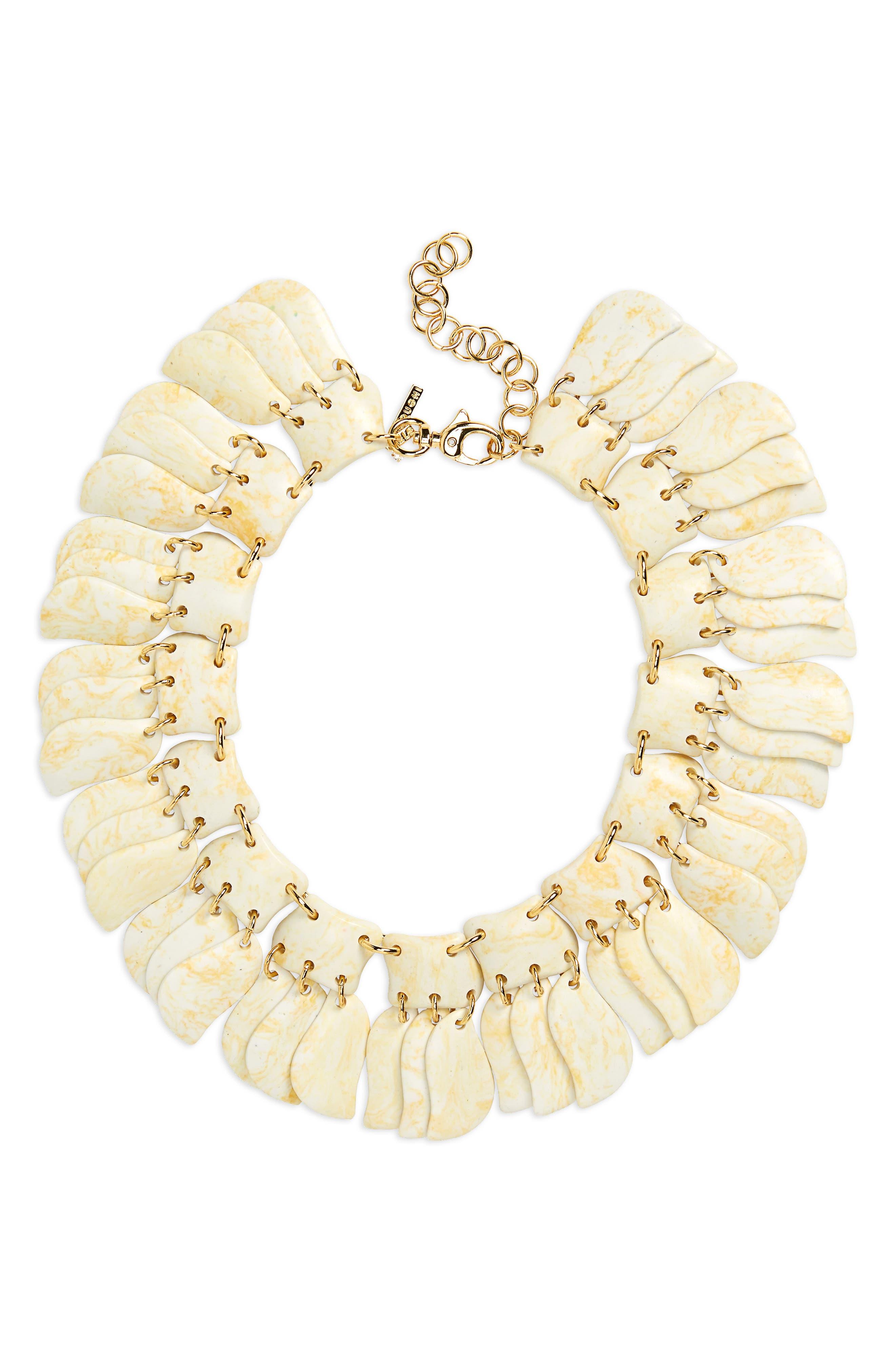 Iris Petal Collar Necklace,                             Main thumbnail 1, color,                             BONE