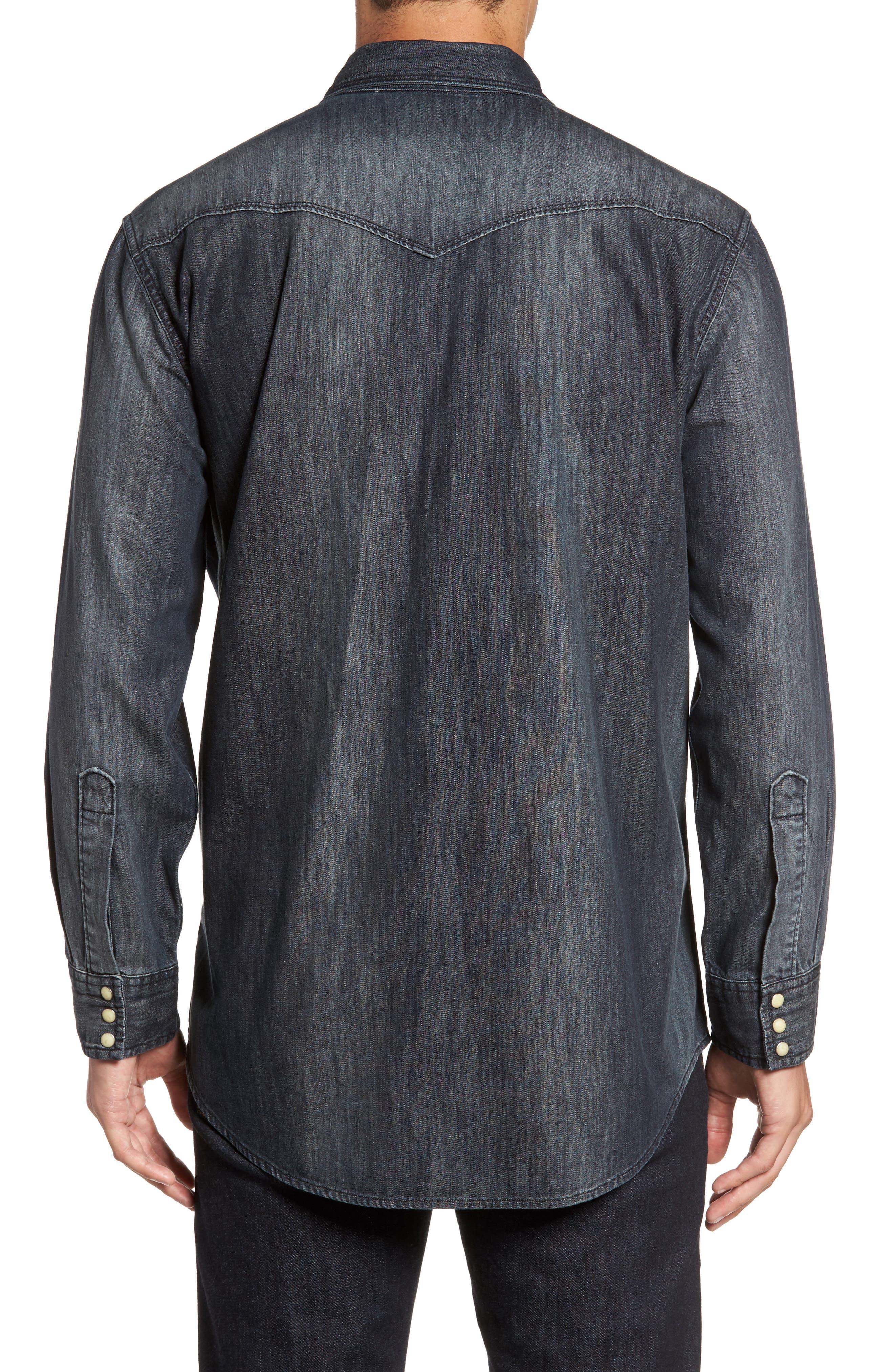 Regular Fit Denim Western Shirt,                             Alternate thumbnail 4, color,