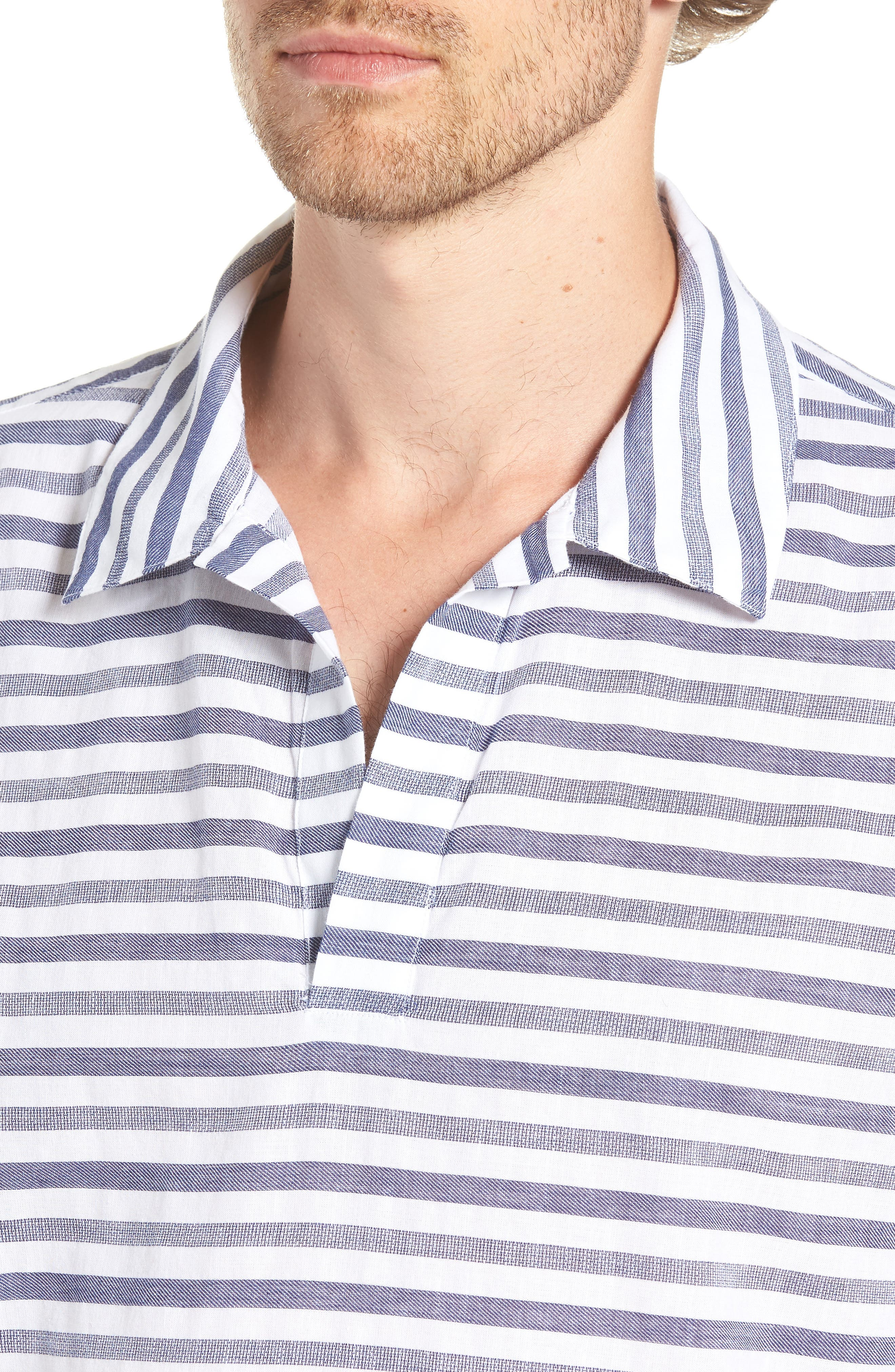 Beach Slim Fit Stripe Cotton & Linen Shirt,                             Alternate thumbnail 2, color,                             100