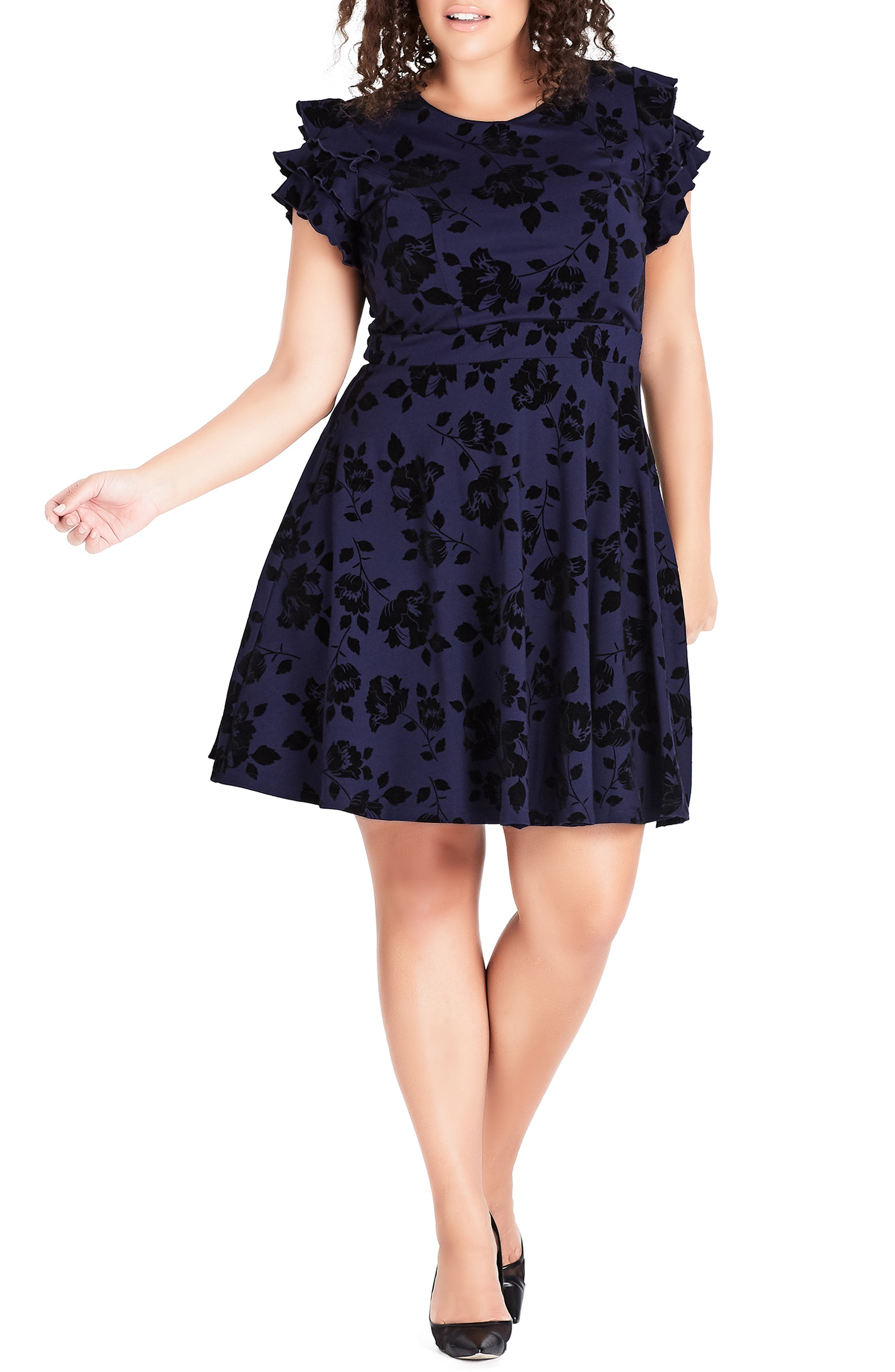 Plus Size City Chic Flock Frill Fit & Flare Dress