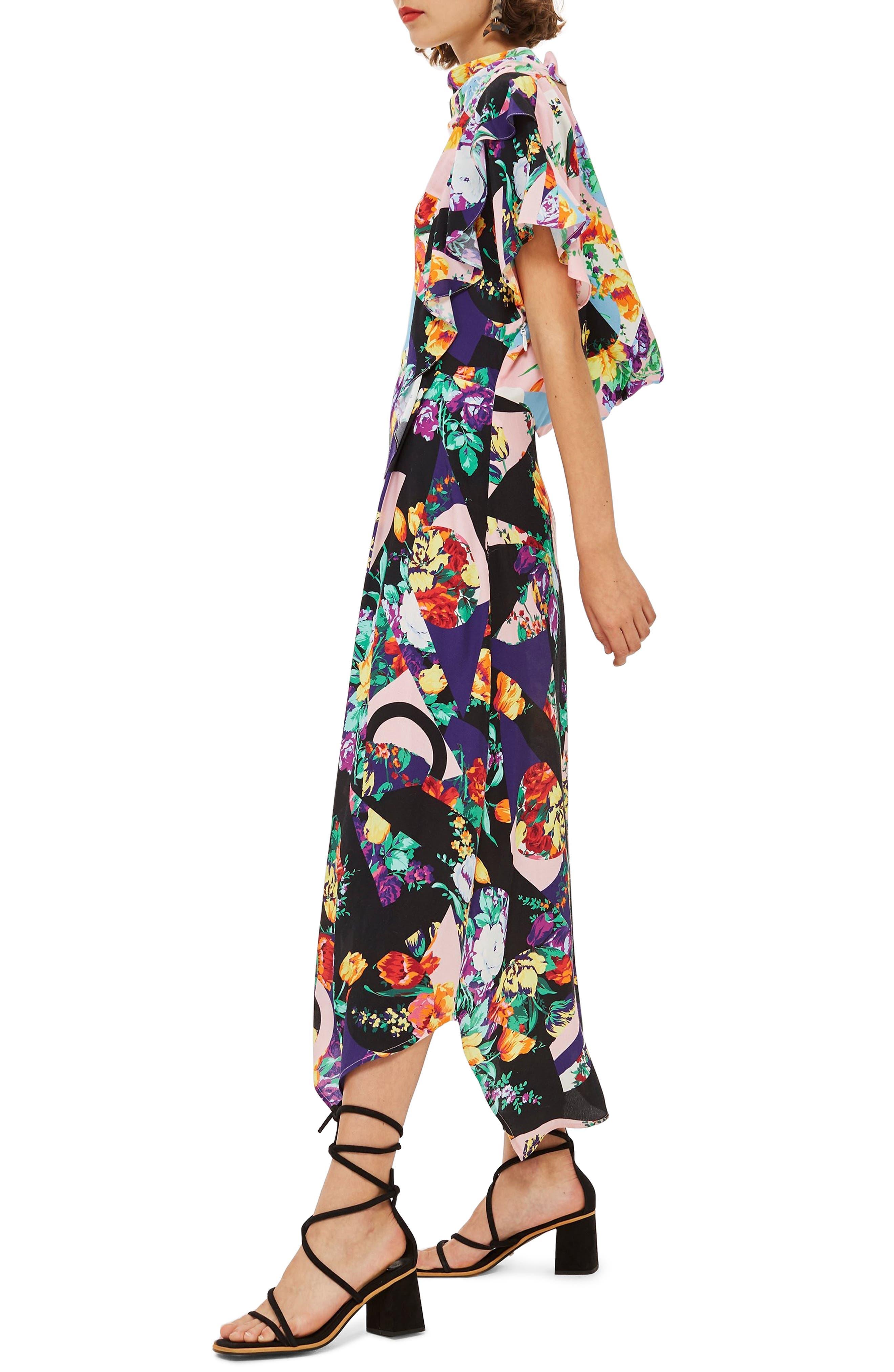 Cowl Back Midi Dress,                             Alternate thumbnail 3, color,                             PINK MULTI