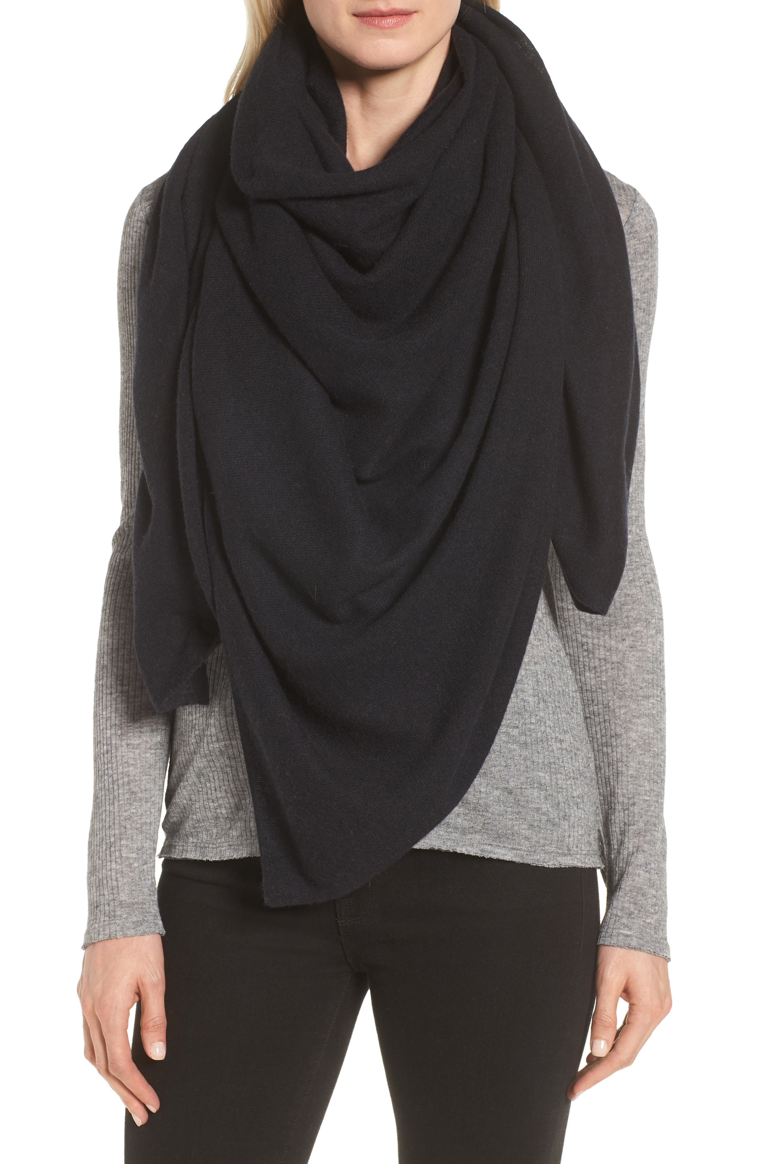 Lightweight Cashmere Scarf,                             Main thumbnail 1, color,                             BLACK