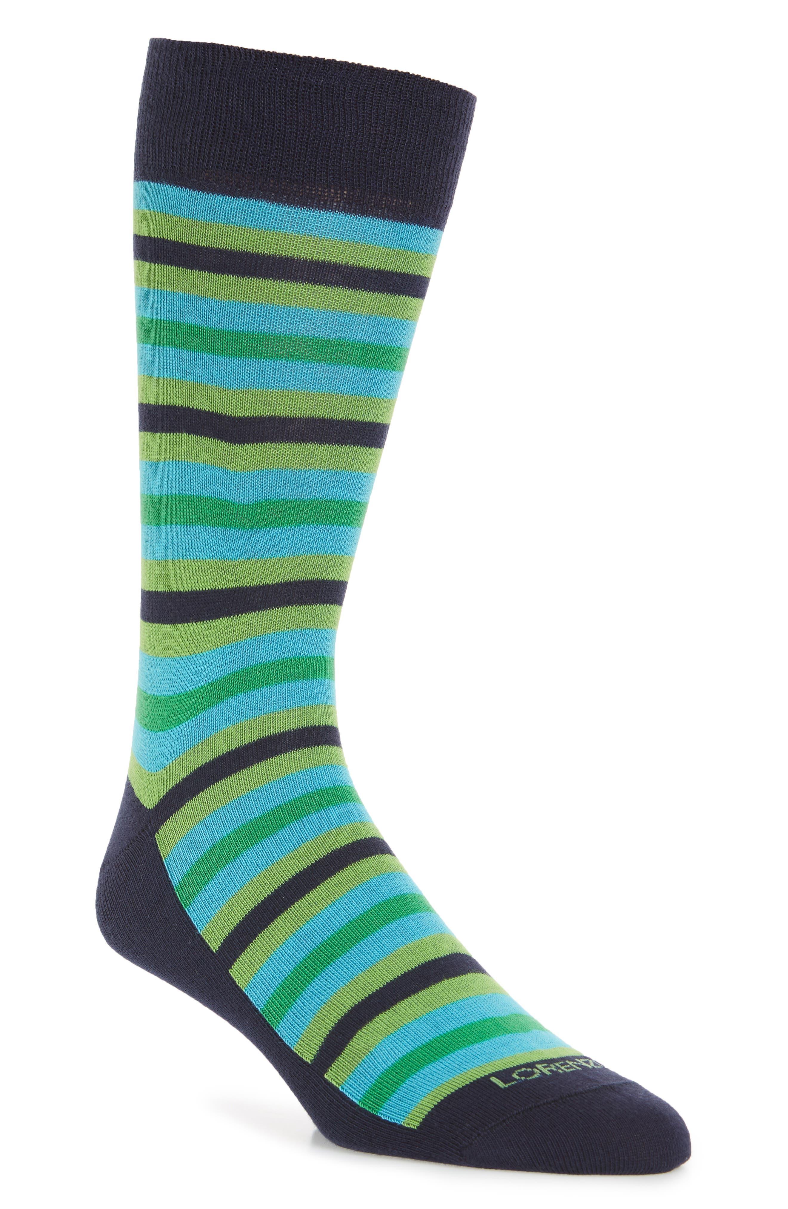 Organic Stripe Socks,                         Main,                         color, NAVY