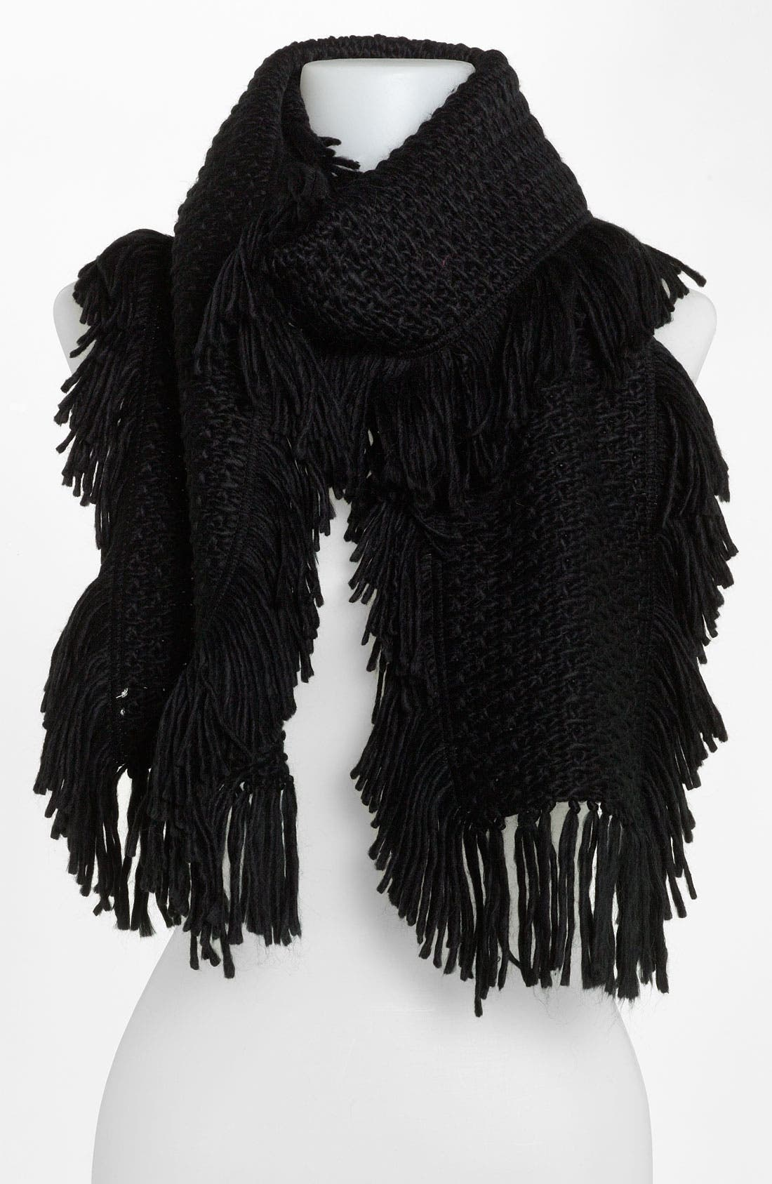 Fringed Knit Scarf,                         Main,                         color, 001