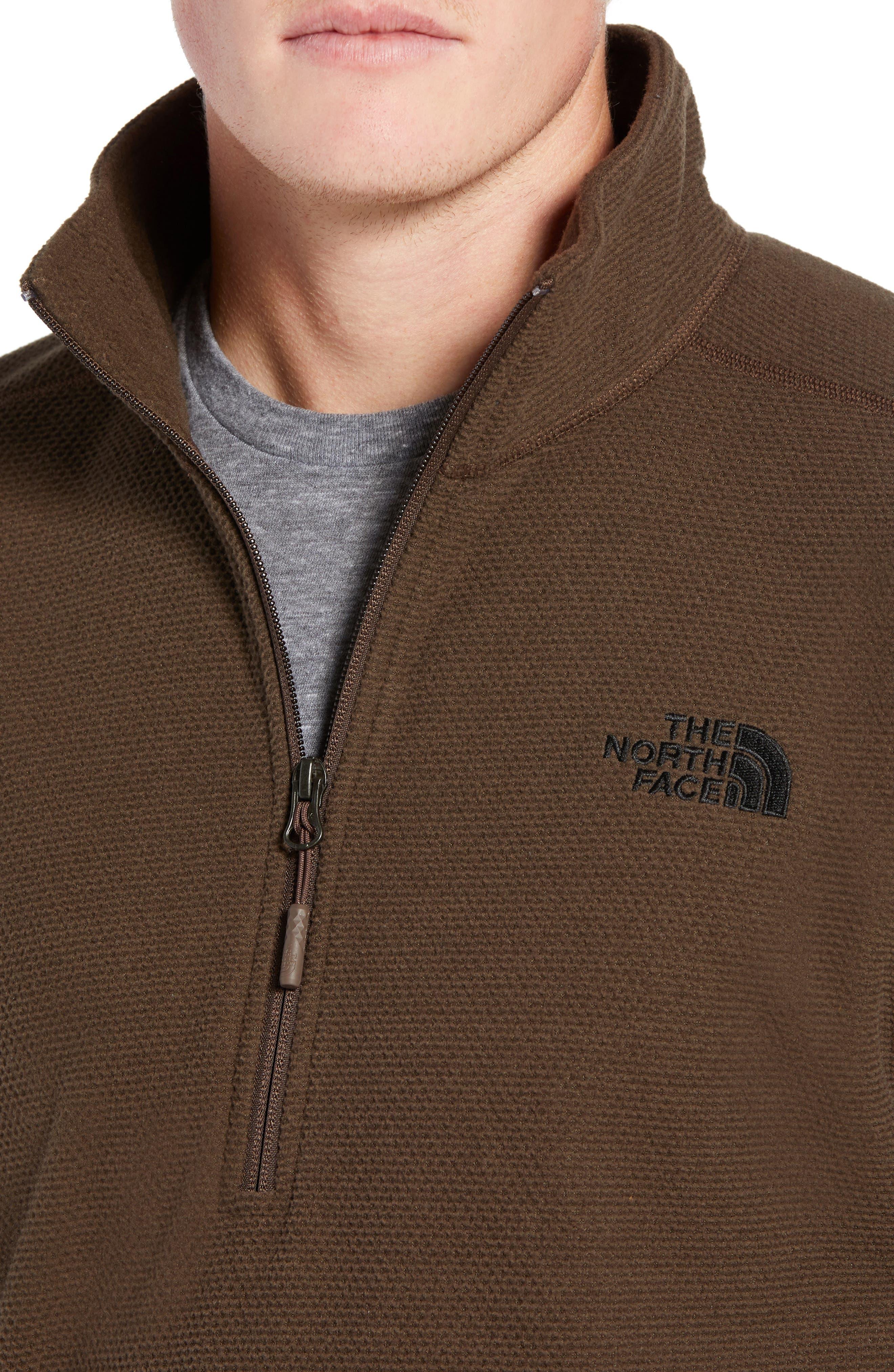 Texture Cap Rock Quarter Zip Fleece Jacket,                             Alternate thumbnail 4, color,                             BRACKEN BROWN
