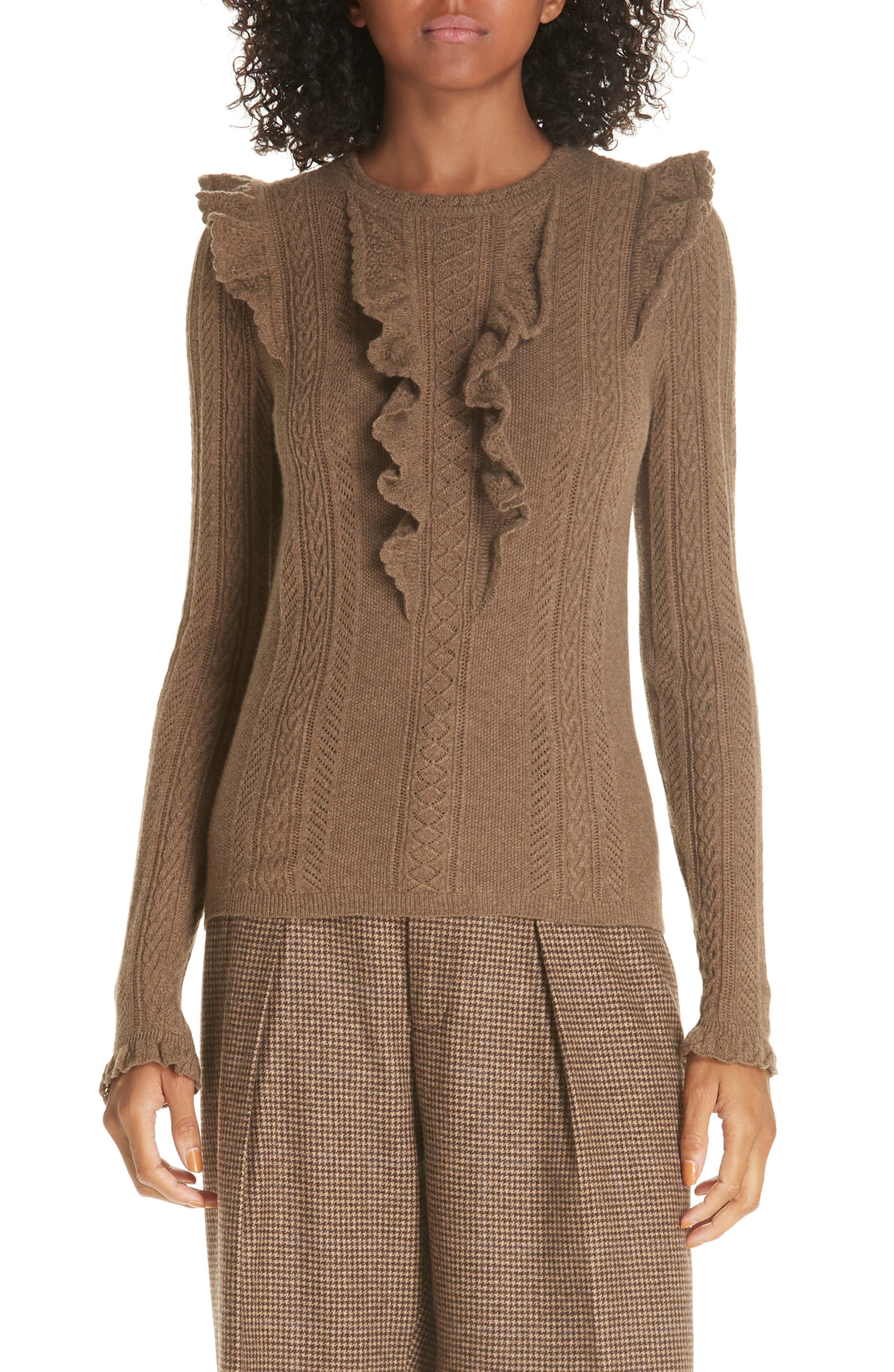 Ruffle Pointelle Sweater,                             Main thumbnail 1, color,                             LIGHT BROWN HEATHER