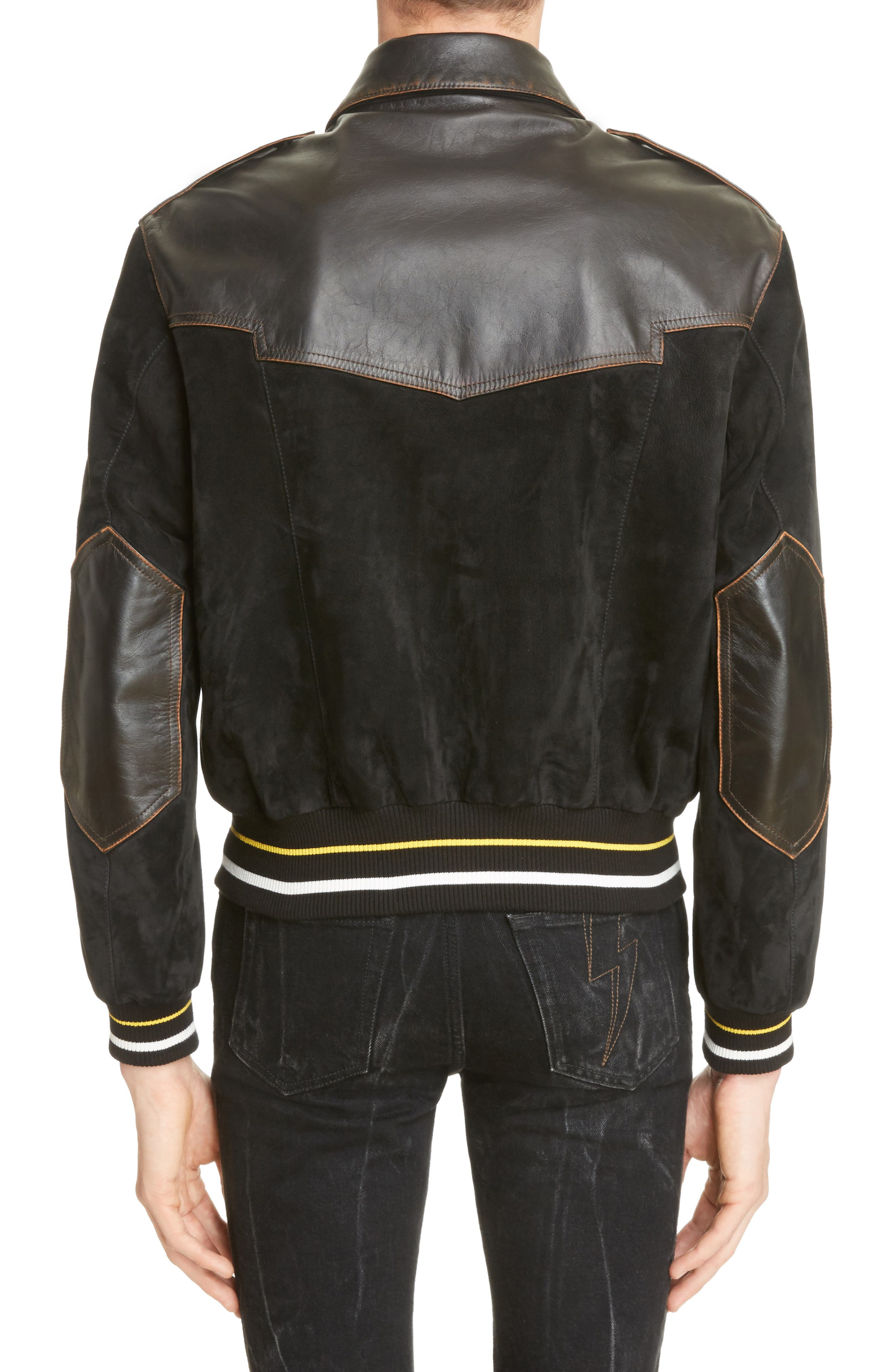 Suede & Leather Bomber Jacket,                             Alternate thumbnail 2, color,                             BLACK