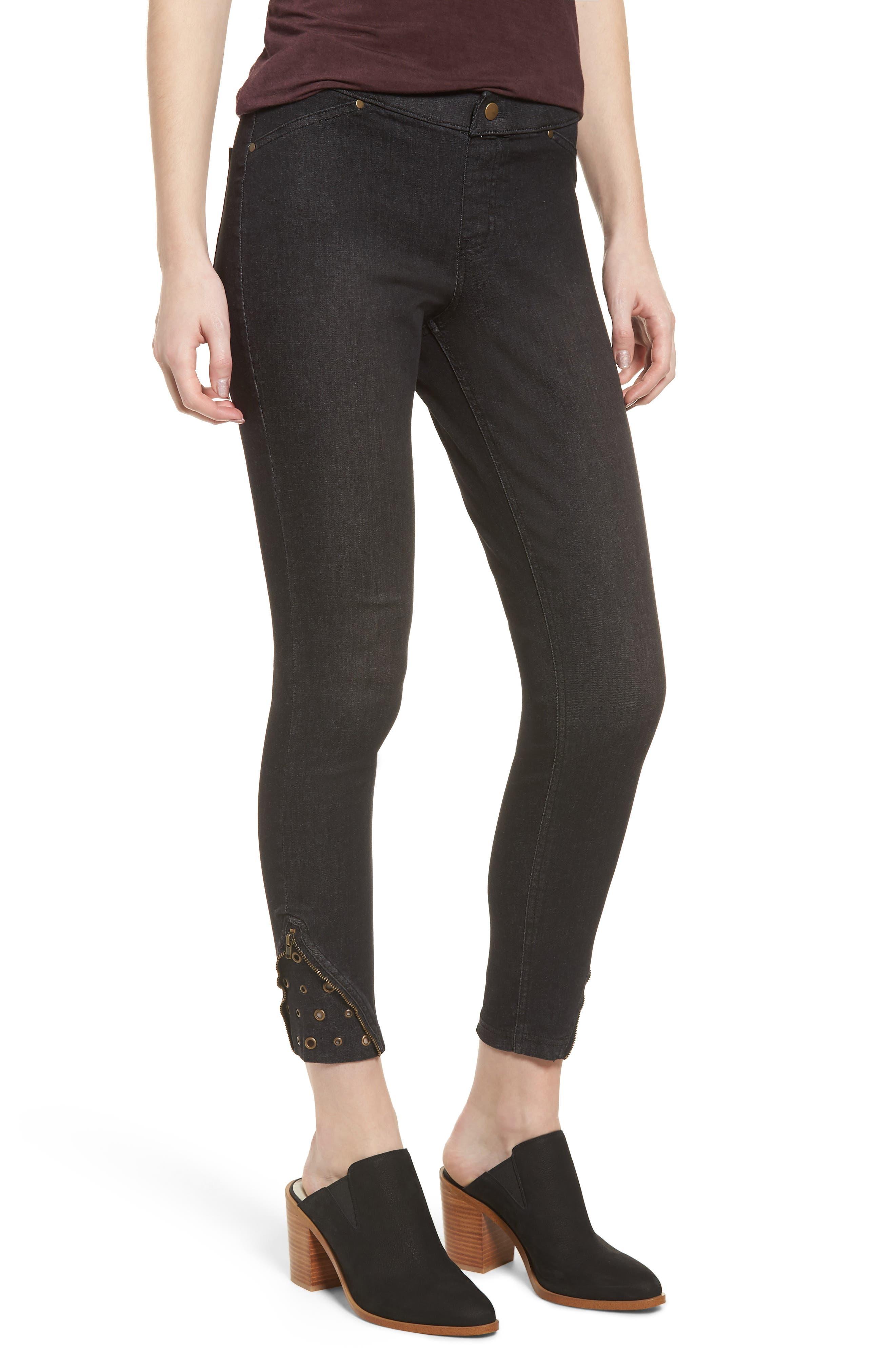 High Waist Embellished Denim Skimmer Leggings,                         Main,                         color, BLACK WASH