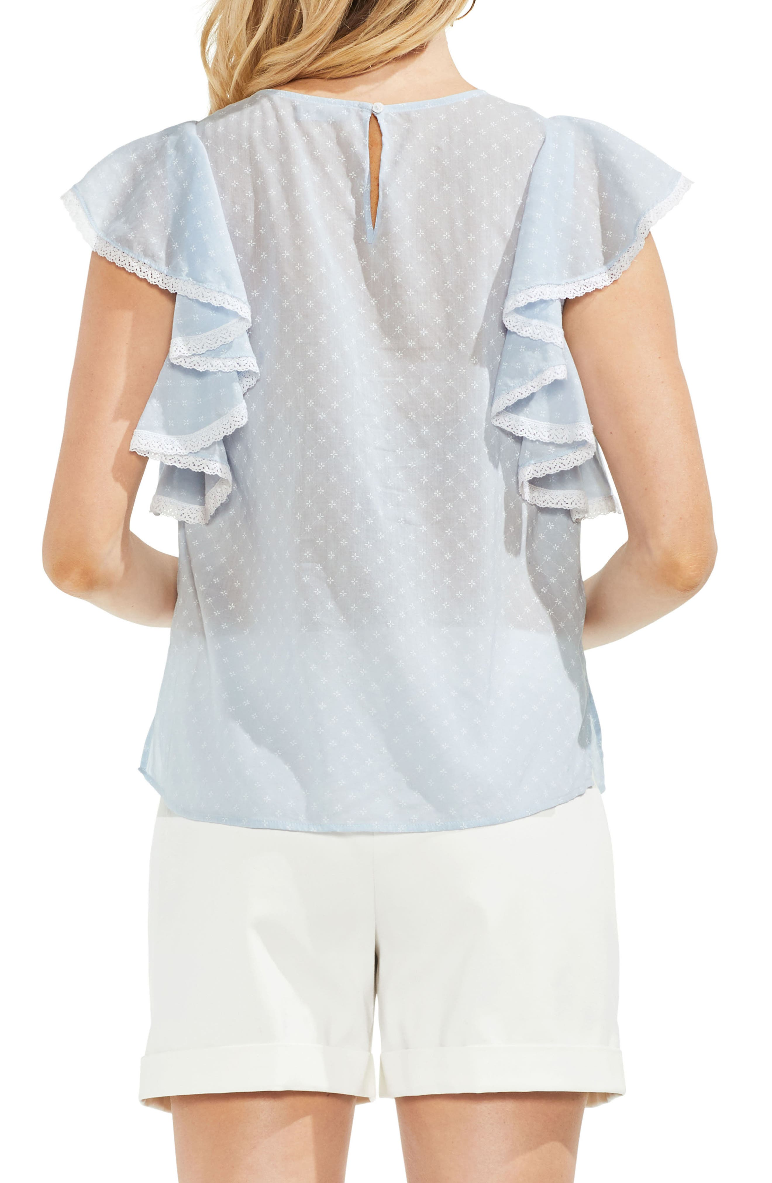Ruffled Floral Embroidered Top,                             Alternate thumbnail 6, color,