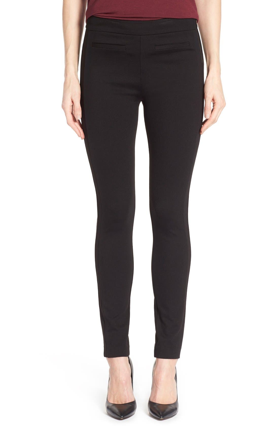 'Tower' Side Zip Ponte Skinny Pants,                             Main thumbnail 1, color,                             001