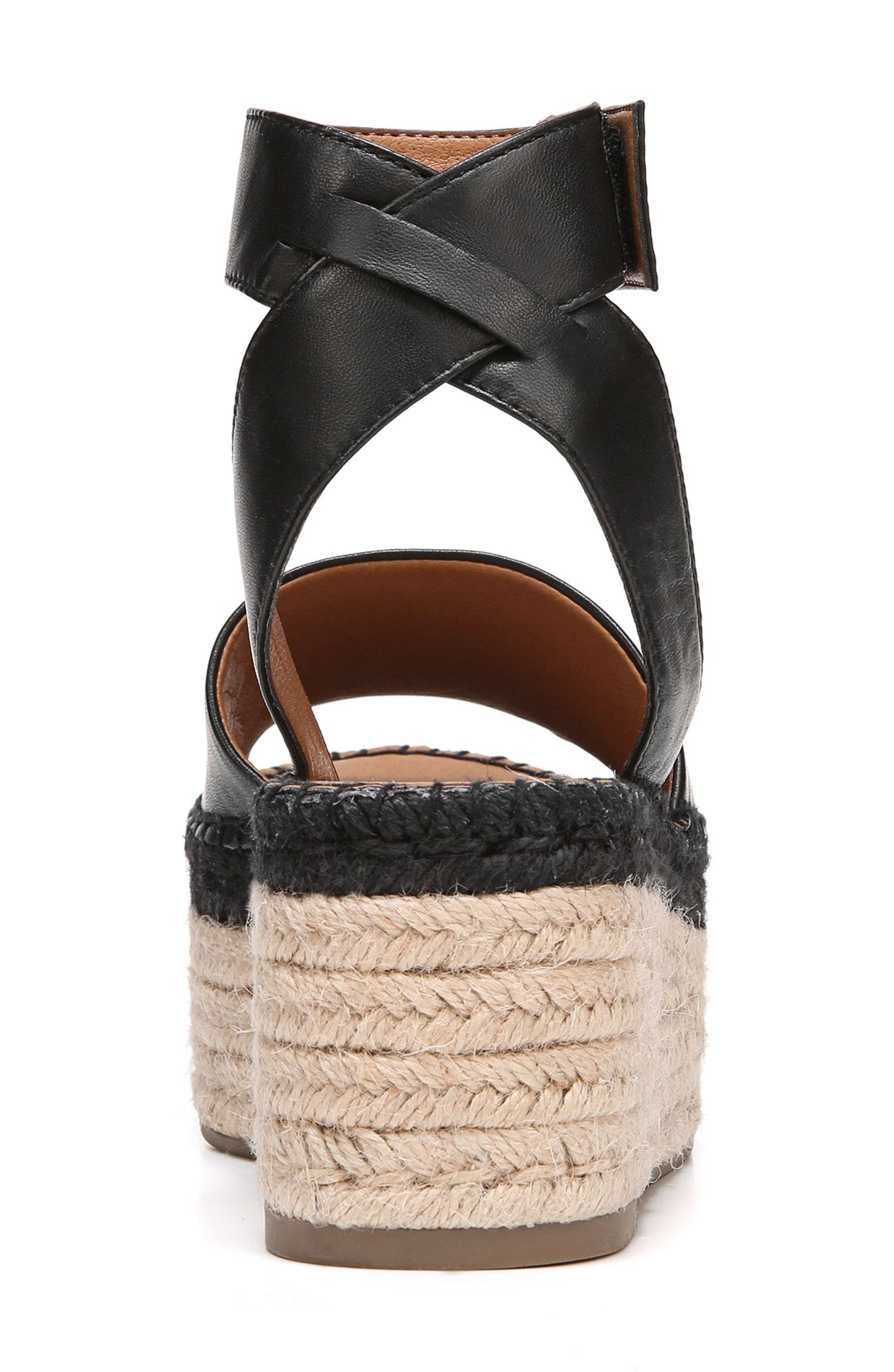 Maisi Platform Espadrille Sandal,                             Alternate thumbnail 2, color,                             BLACK LEATHER