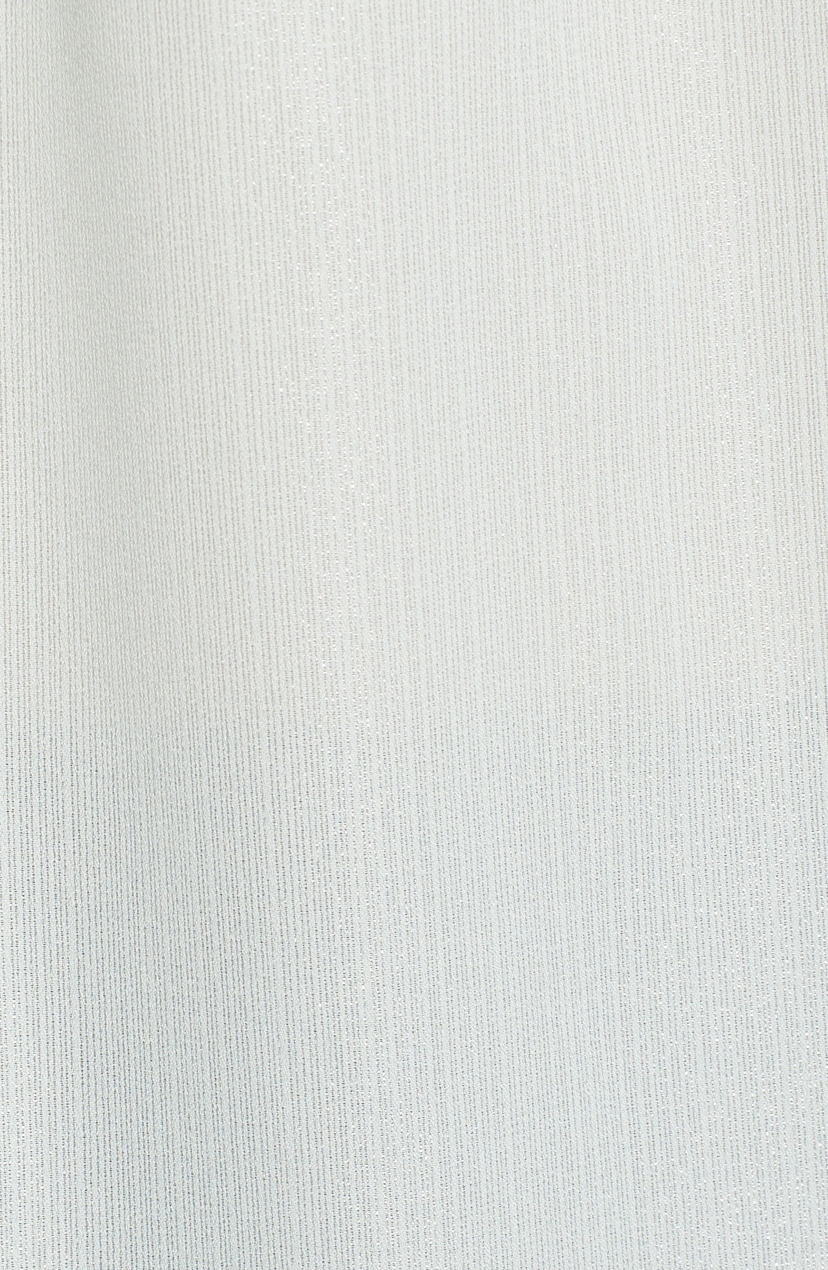 Tie Neck Shimmer Top,                             Alternate thumbnail 5, color,                             BLUE GREY SHIMMER