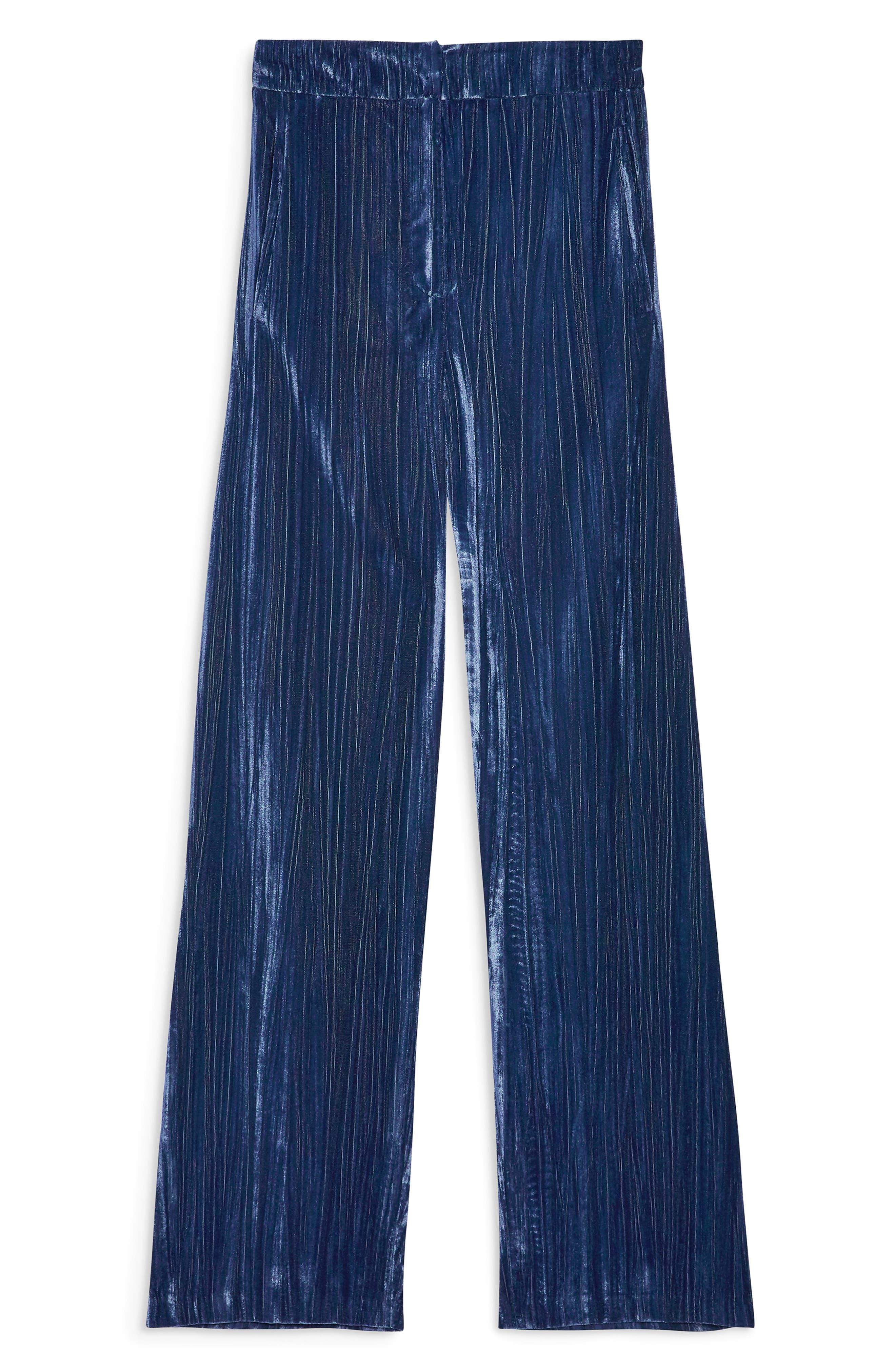 Crinkled Velvet Trousers,                             Alternate thumbnail 3, color,                             PETROL
