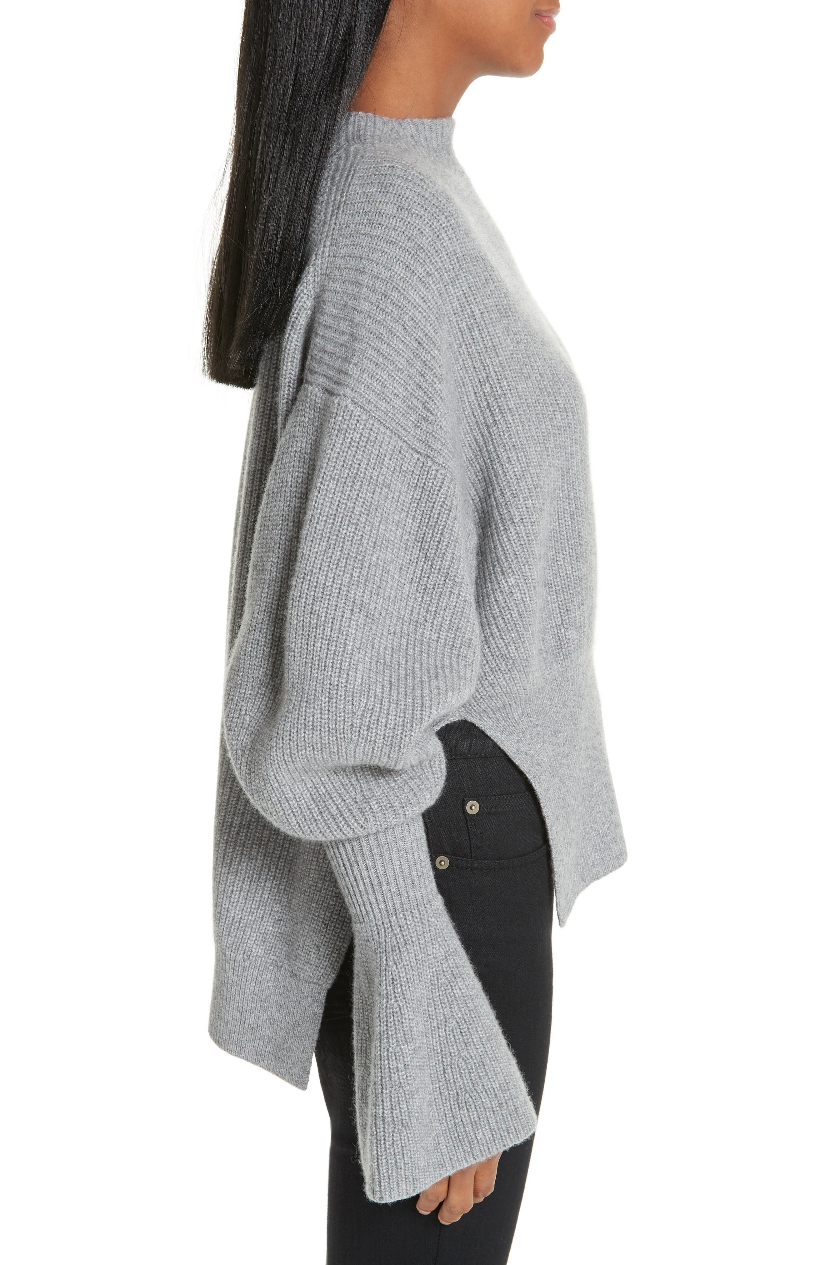 Side Split Merino Wool & Cashmere Blend Sweater,                             Alternate thumbnail 3, color,                             HEATHER GREY