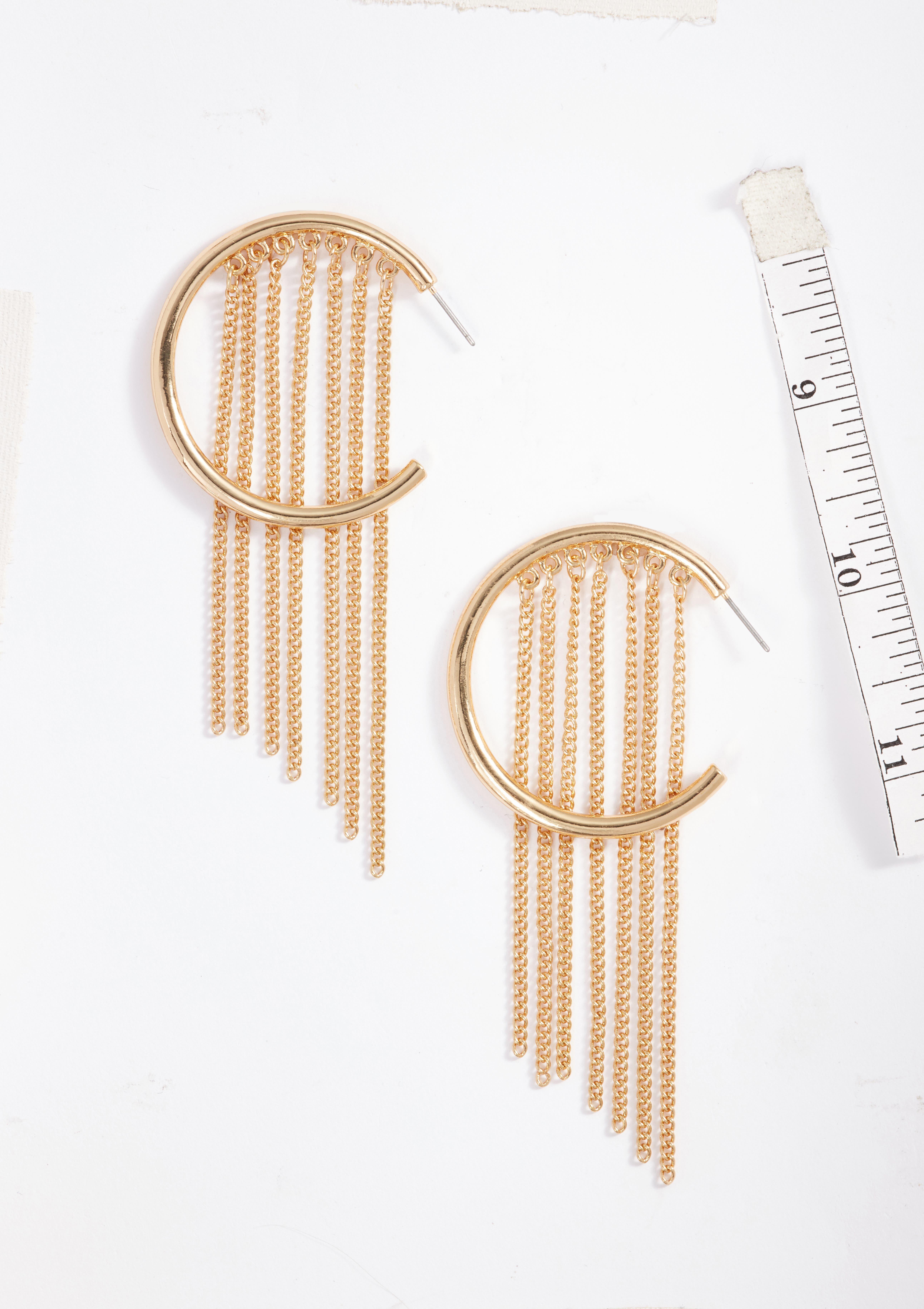 Hoop Chain Fringe Earrings,                             Alternate thumbnail 2, color,                             710