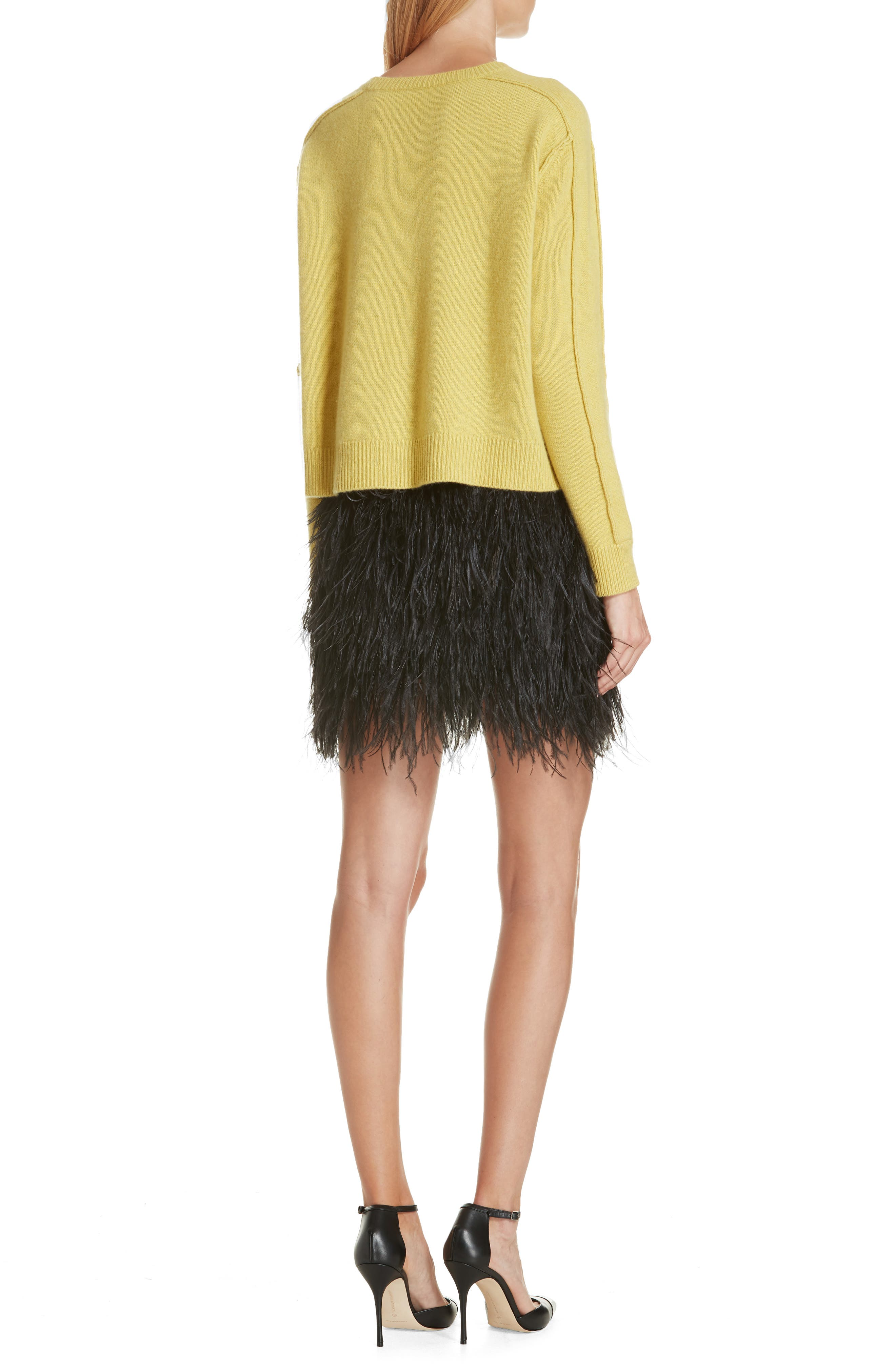 Lightning Bolt Wool & Cashmere Sweater,                             Alternate thumbnail 2, color,                             YELLOW/ GREY
