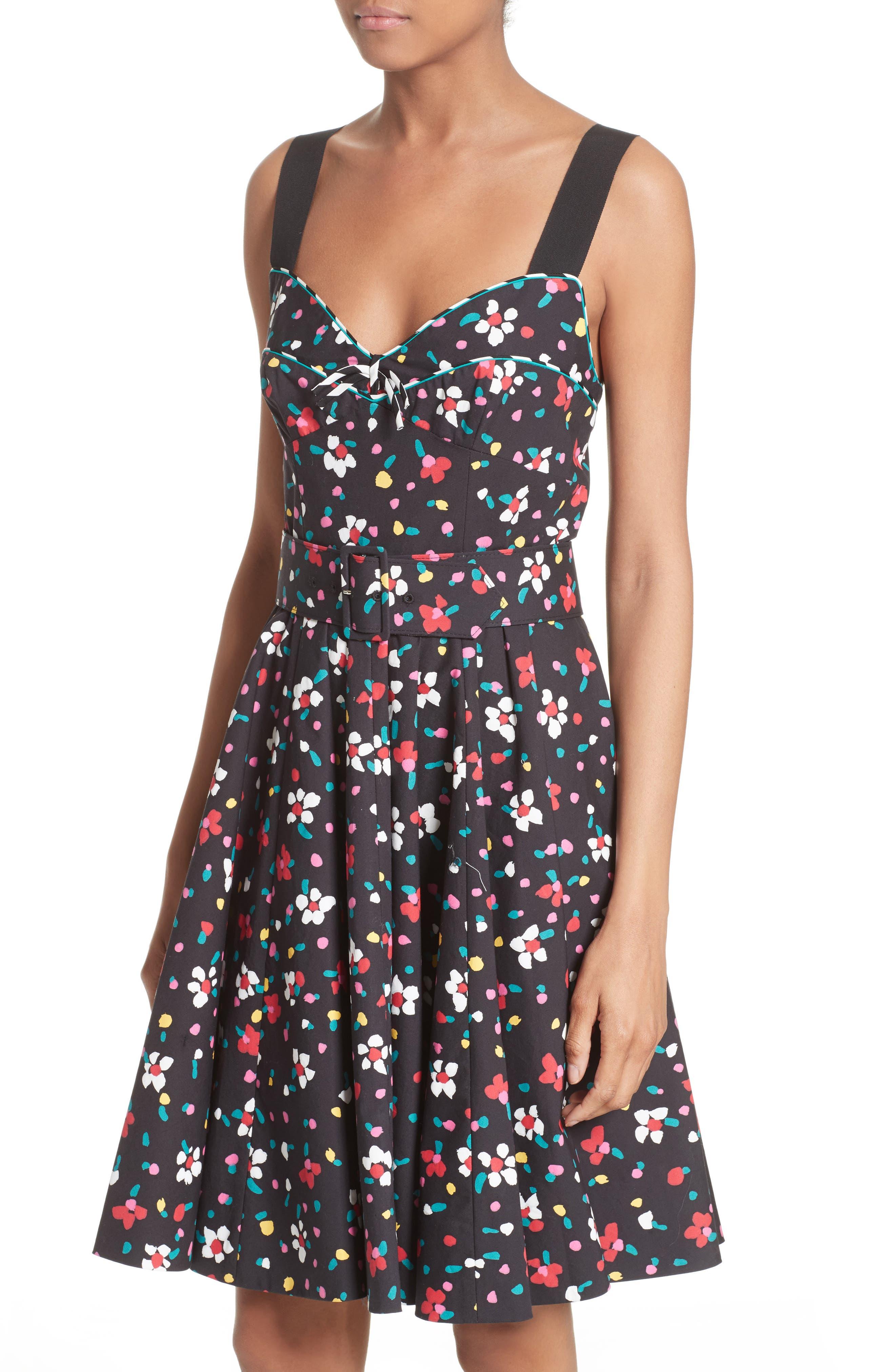 Floral Print Poplin Fit & Flare Dress,                             Alternate thumbnail 4, color,