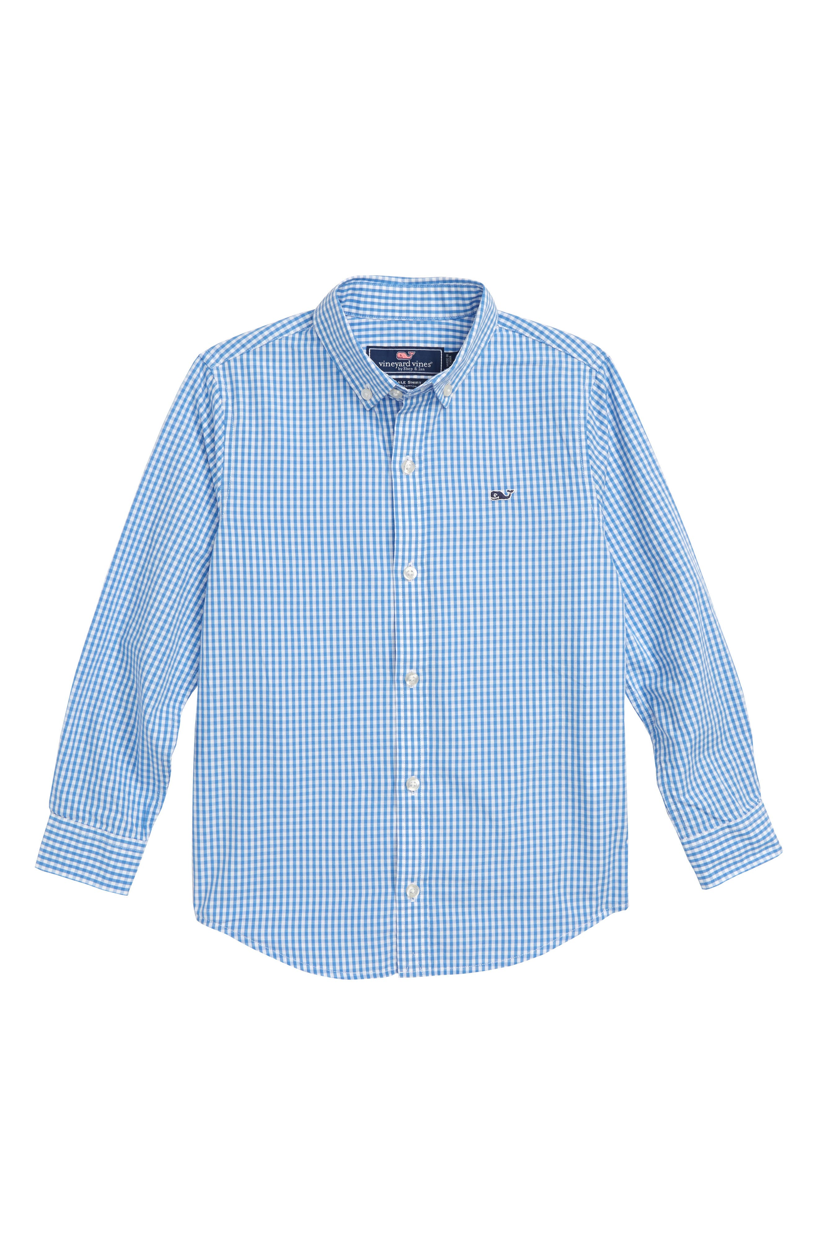 Classic Gingham Whale Shirt,                             Main thumbnail 1, color,                             HYDRANGEA