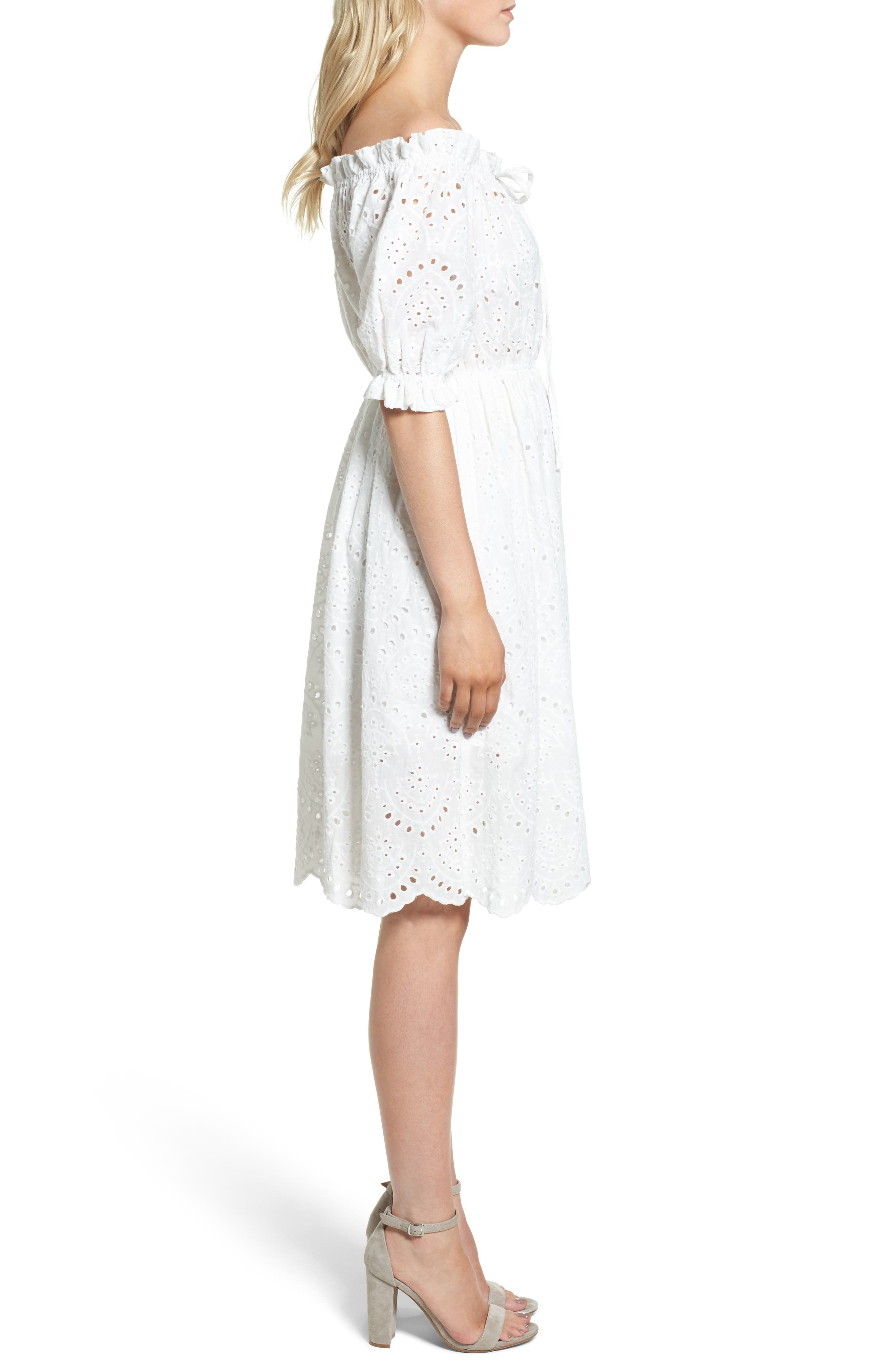 The White Party Off the Shoulder Dress,                             Alternate thumbnail 3, color,                             100
