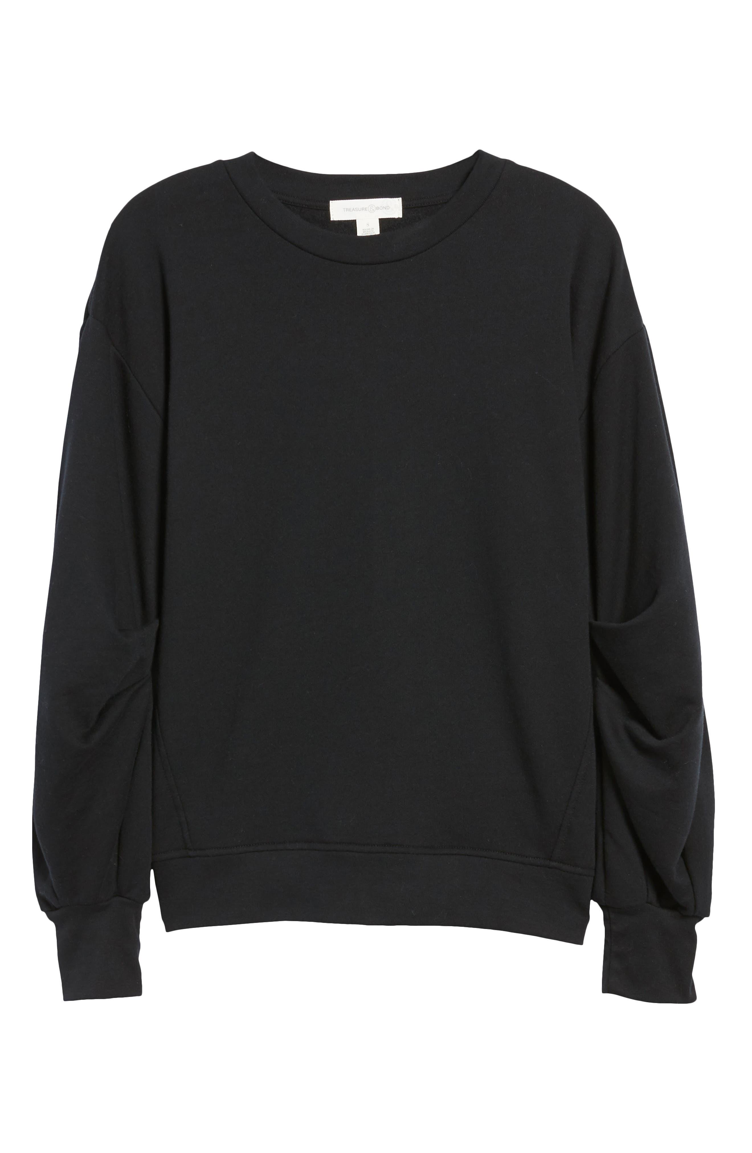 Pleated Sleeve Sweatshirt,                             Alternate thumbnail 6, color,                             001