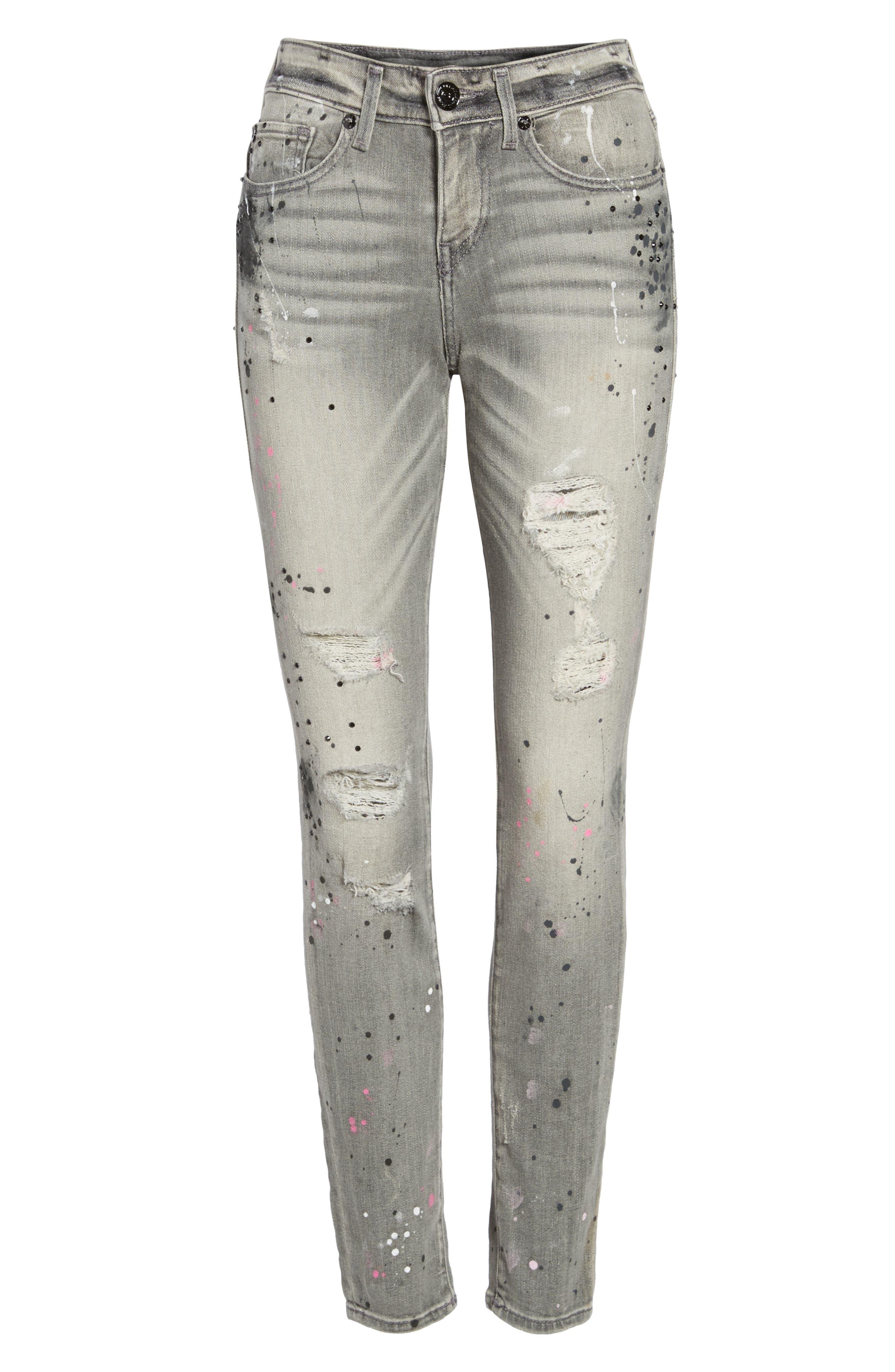 Halle Paint Splatter Skinny Jeans,                             Alternate thumbnail 6, color,                             021