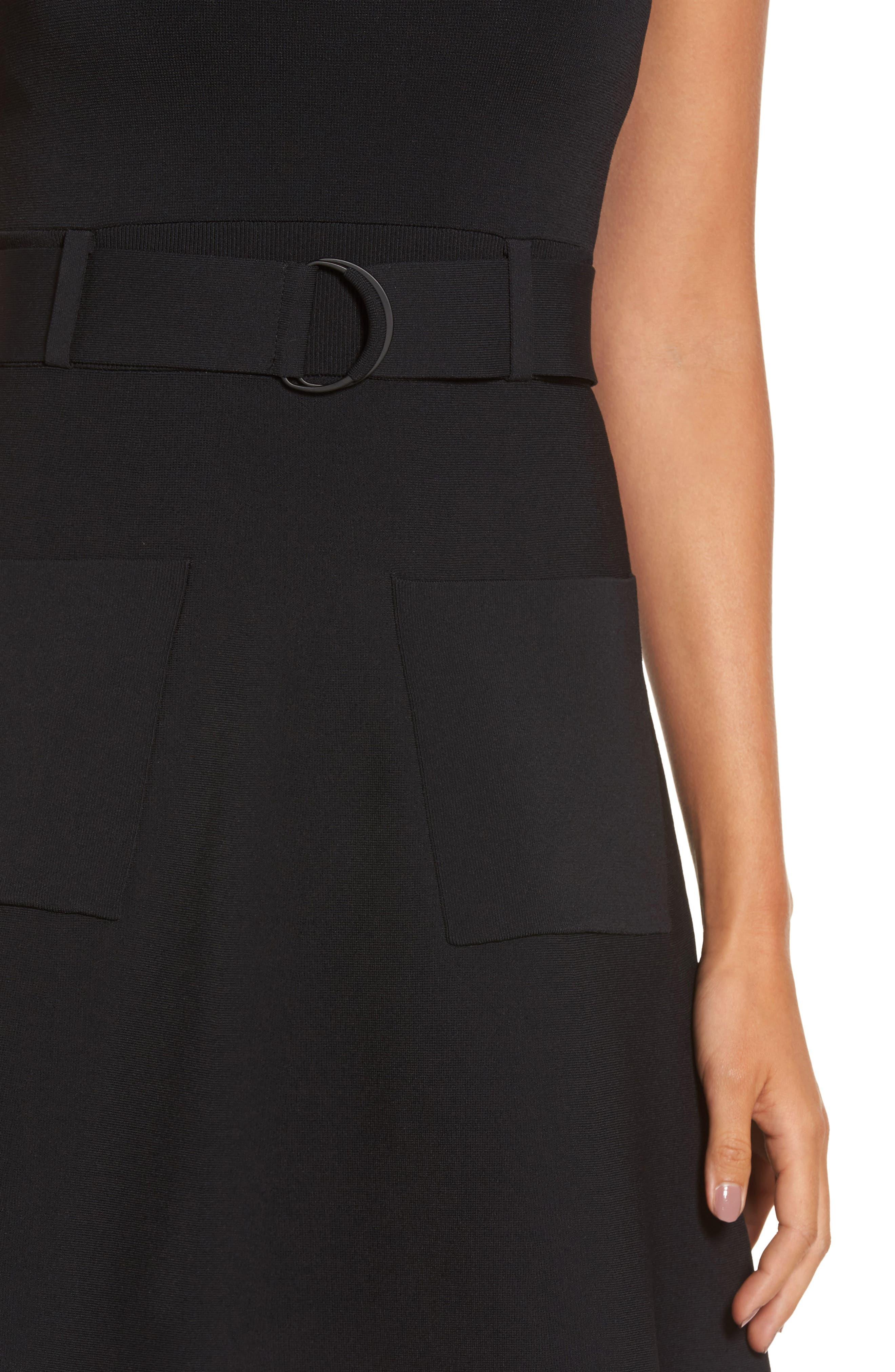 Sleeveless Fit & Flare Dress,                             Alternate thumbnail 4, color,                             001