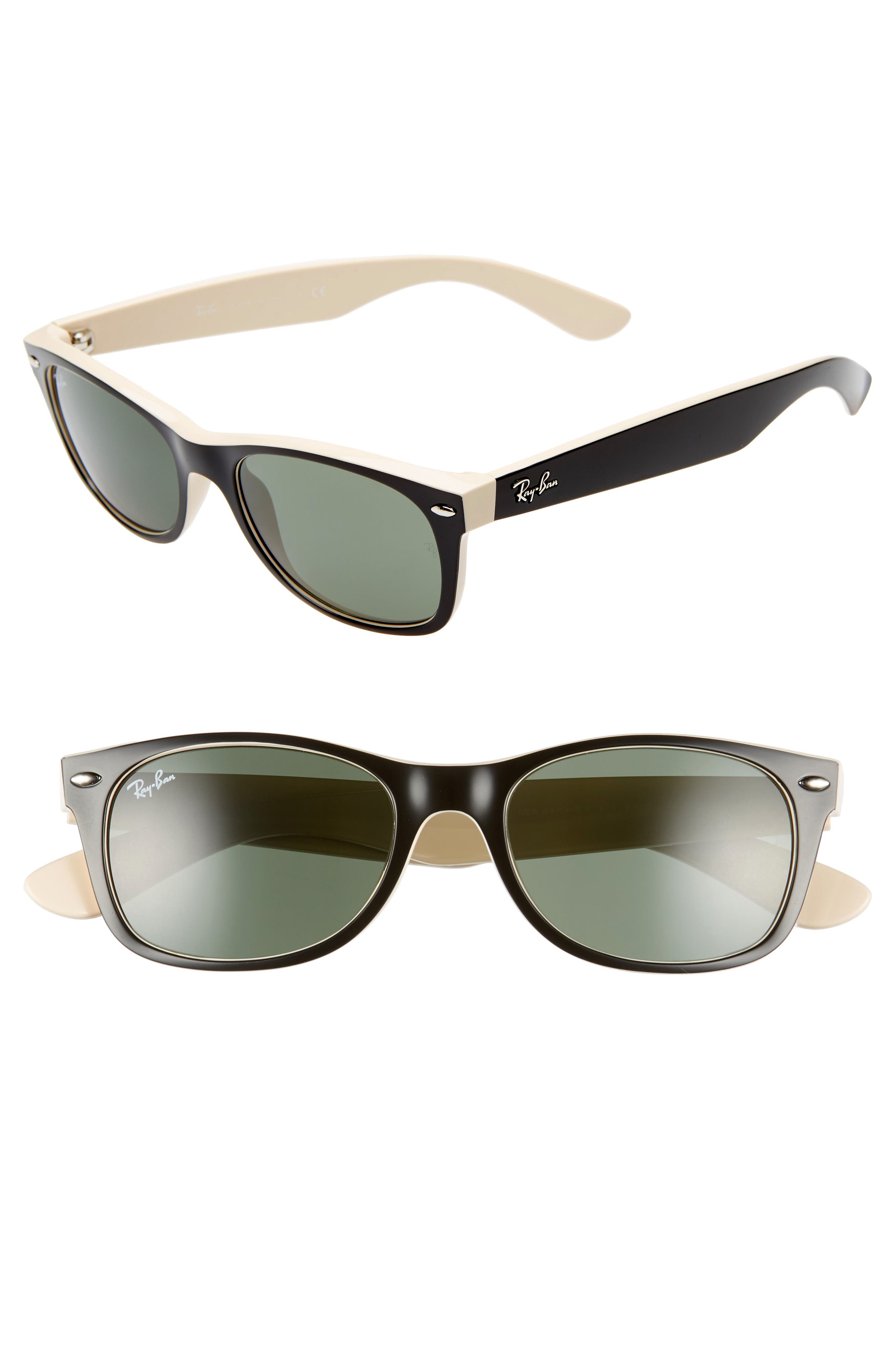 RAY-BAN,                             Small New Wayfarer 52mm Sunglasses,                             Main thumbnail 1, color,                             BLACK BEIGE/ GREEN