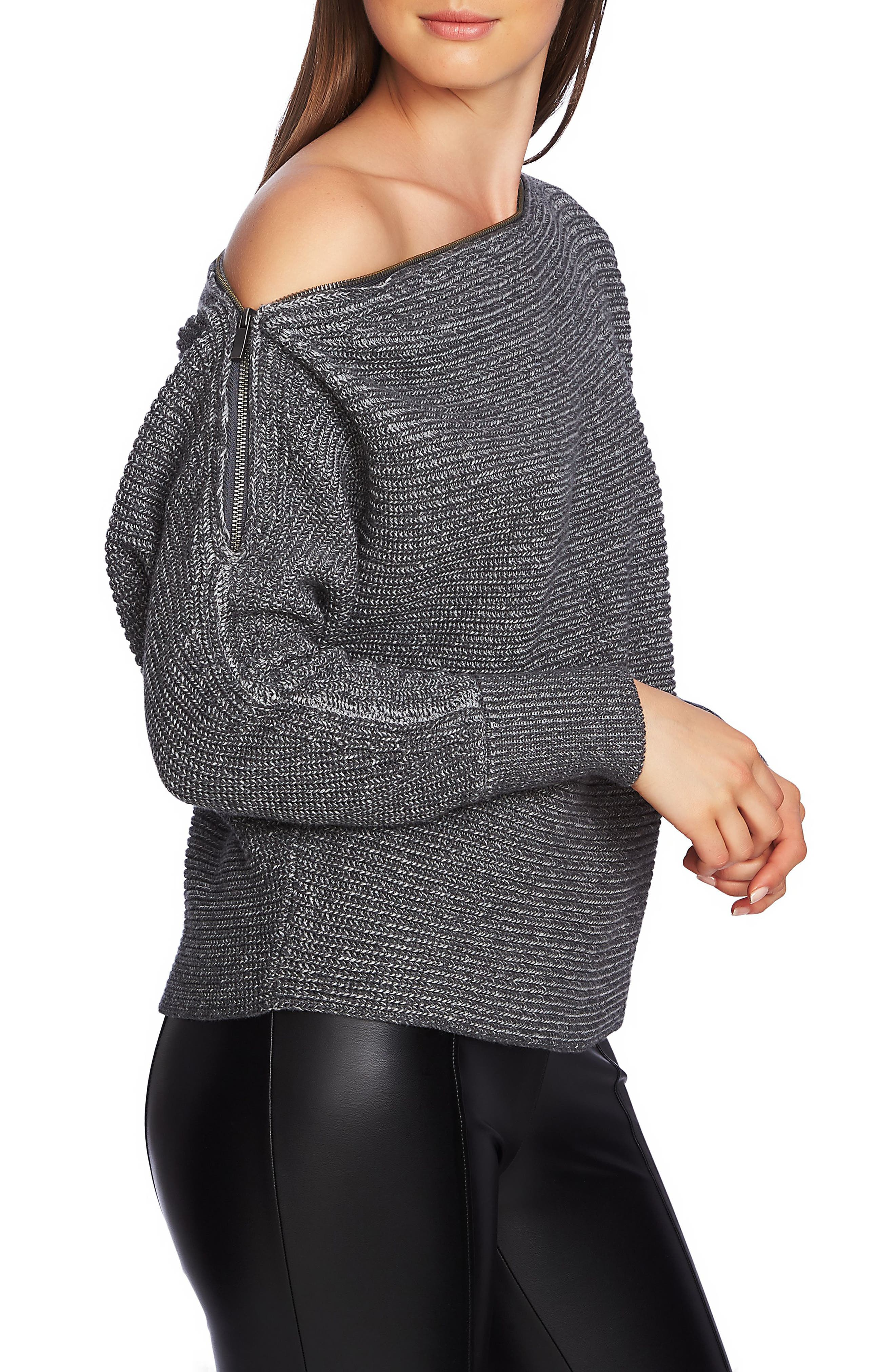 Convertible Zip Neckline Sweater,                             Alternate thumbnail 3, color,                             023