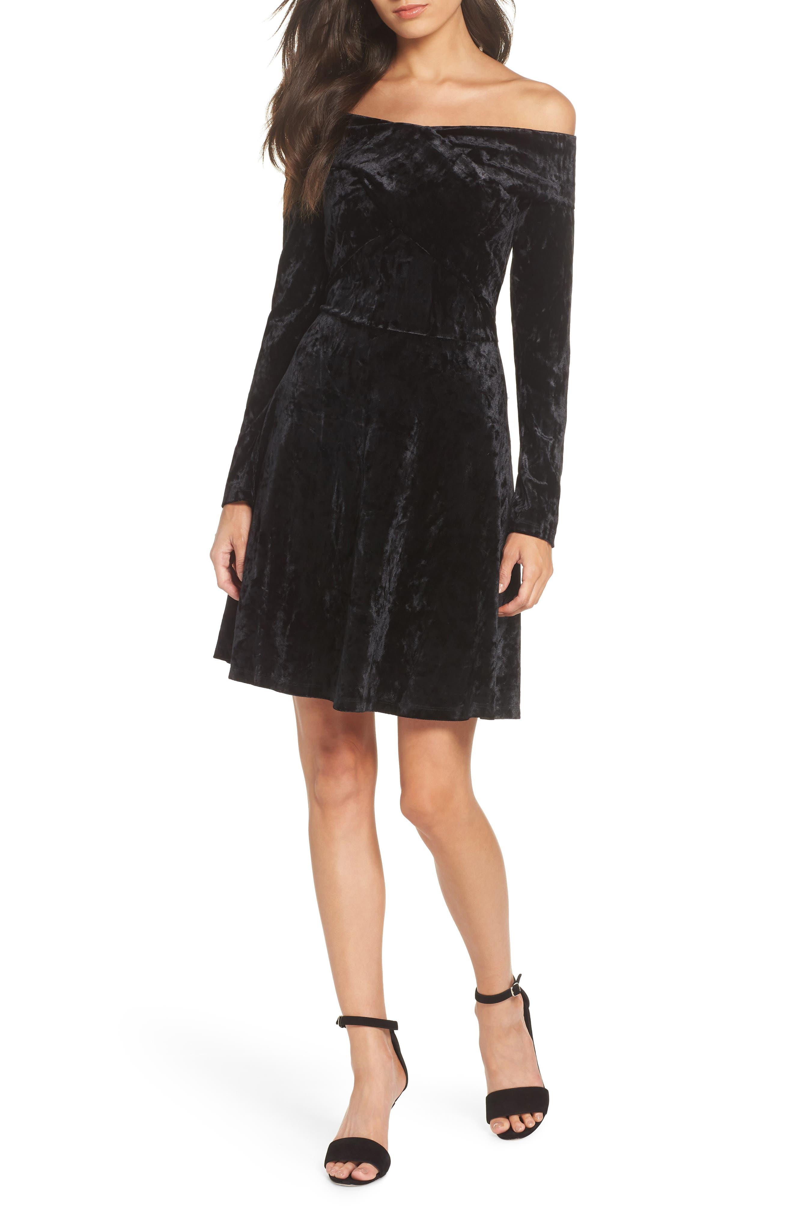 Off the Shoulder Velvet A-Line Dress,                             Main thumbnail 1, color,                             BLACK