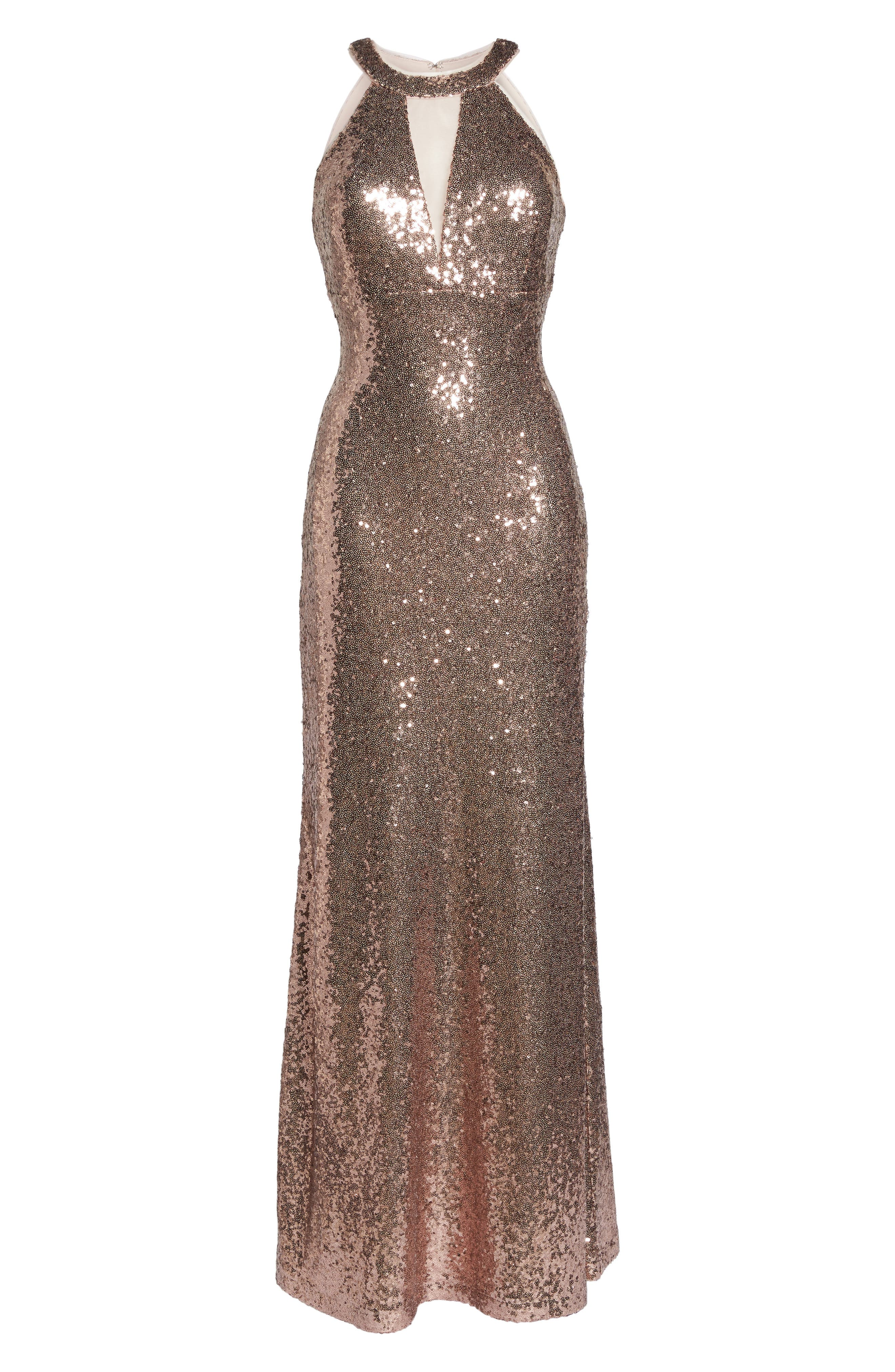 Sequin Halter Gown,                             Alternate thumbnail 6, color,