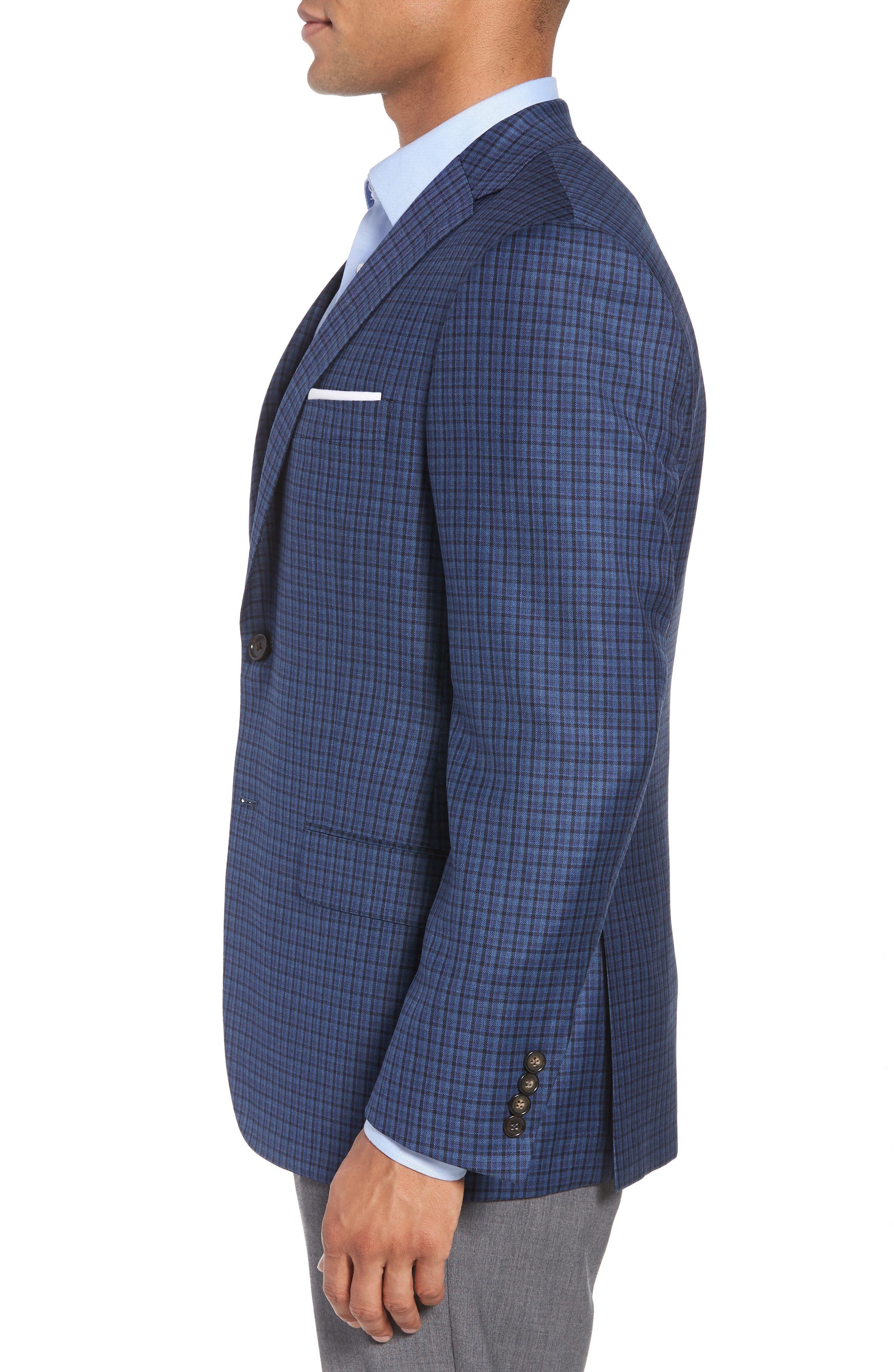 Classic B Fit Check Wool Sport Coat,                             Alternate thumbnail 3, color,                             BLUE PLAID